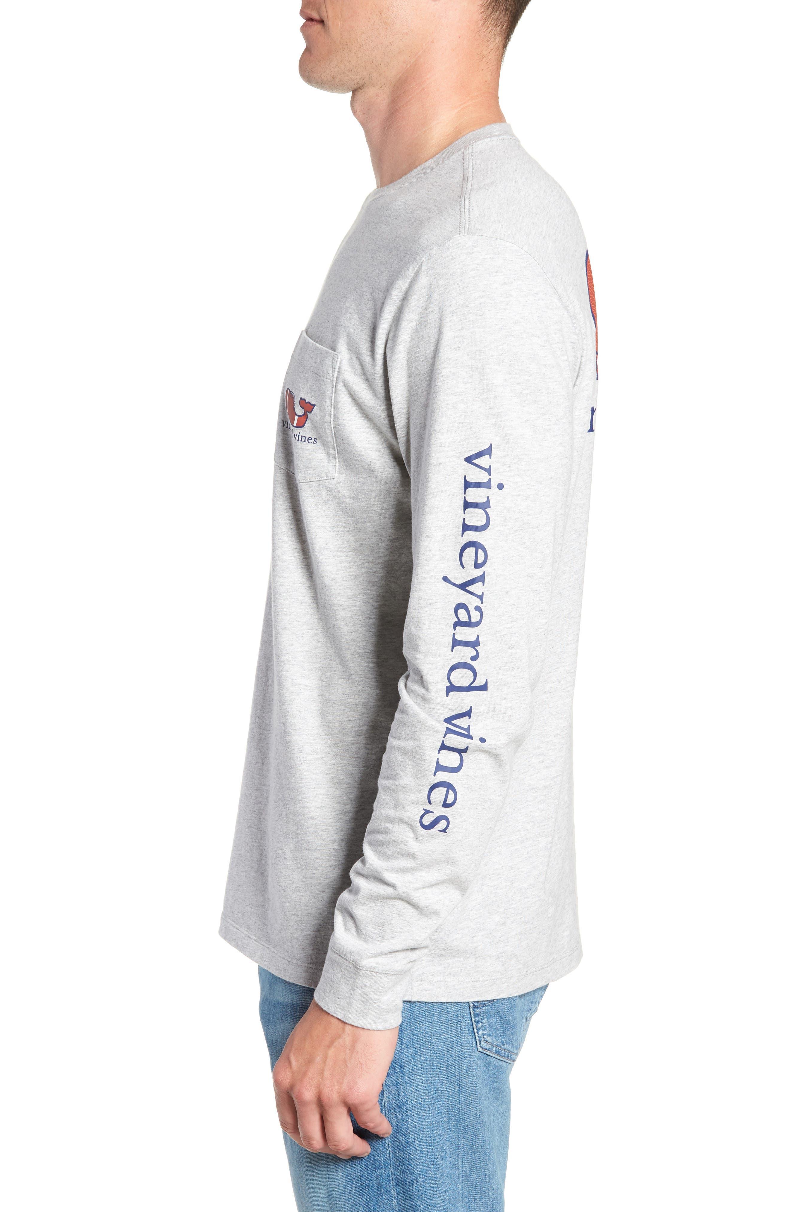 Football Whale Long Sleeve Pocket T-Shirt,                             Alternate thumbnail 3, color,                             GRAY HEATHER