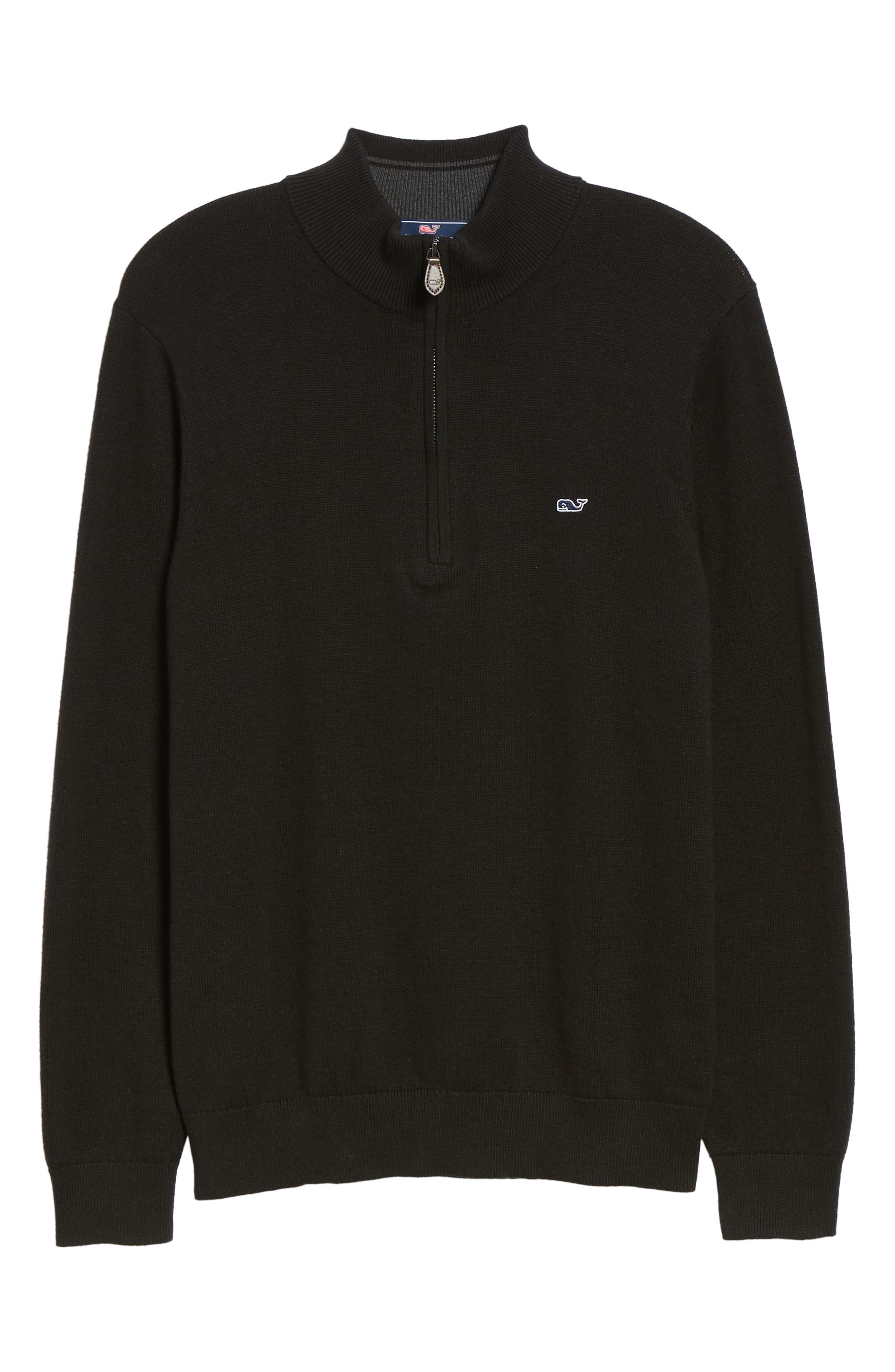 Palm Beach Quarter-Zip Sweater,                             Alternate thumbnail 6, color,                             JET BLACK