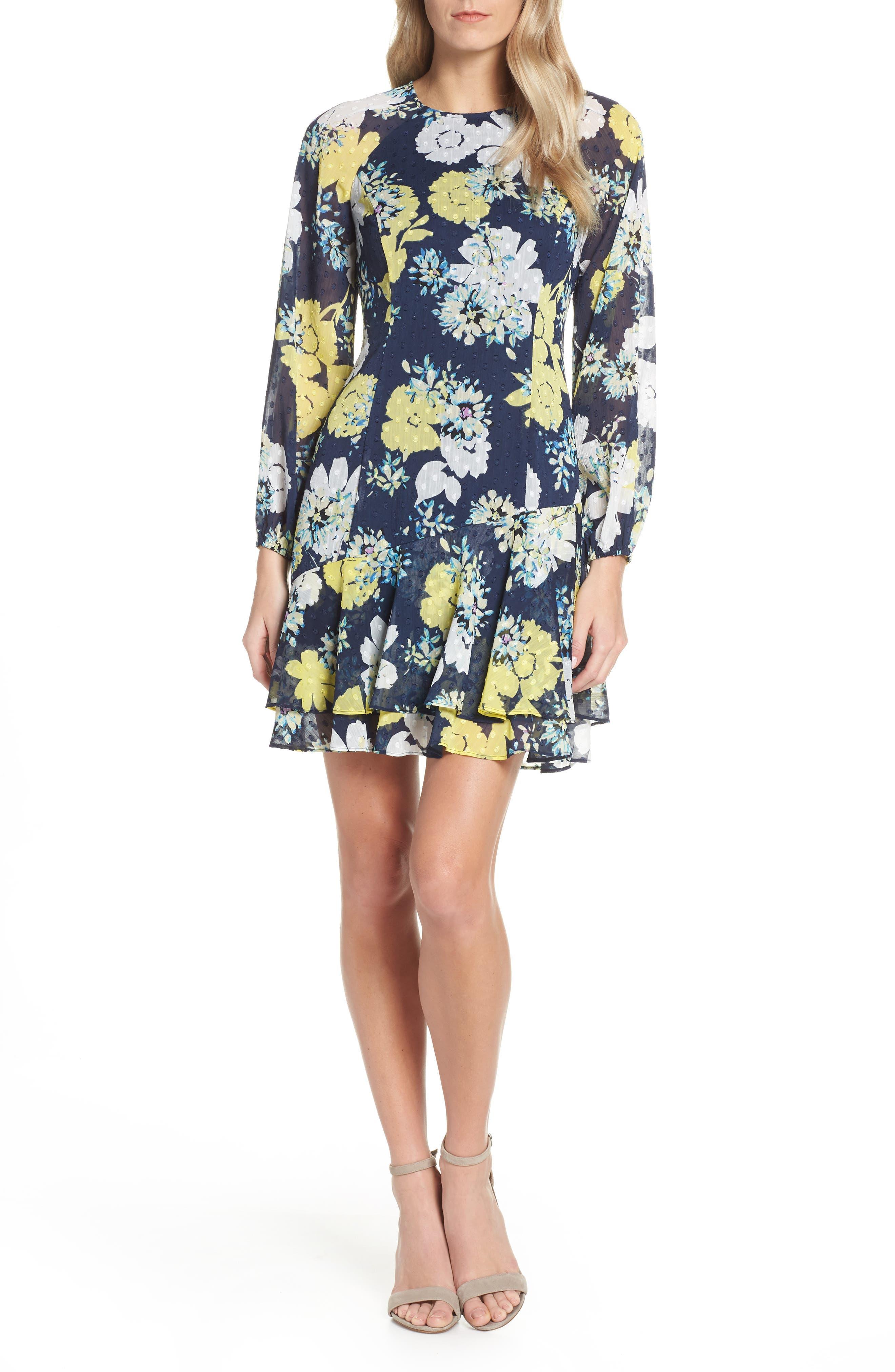Eliza J Ruffled Fit & Flare Dress, 8 (similar to 1) - Blue