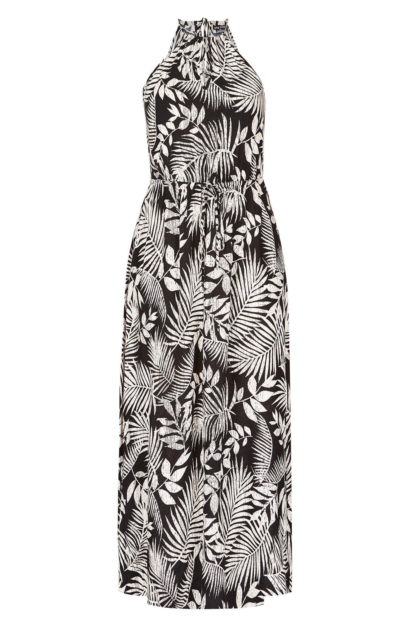 Palm Play Maxi Dress,                             Alternate thumbnail 3, color,                             PALM PLAY
