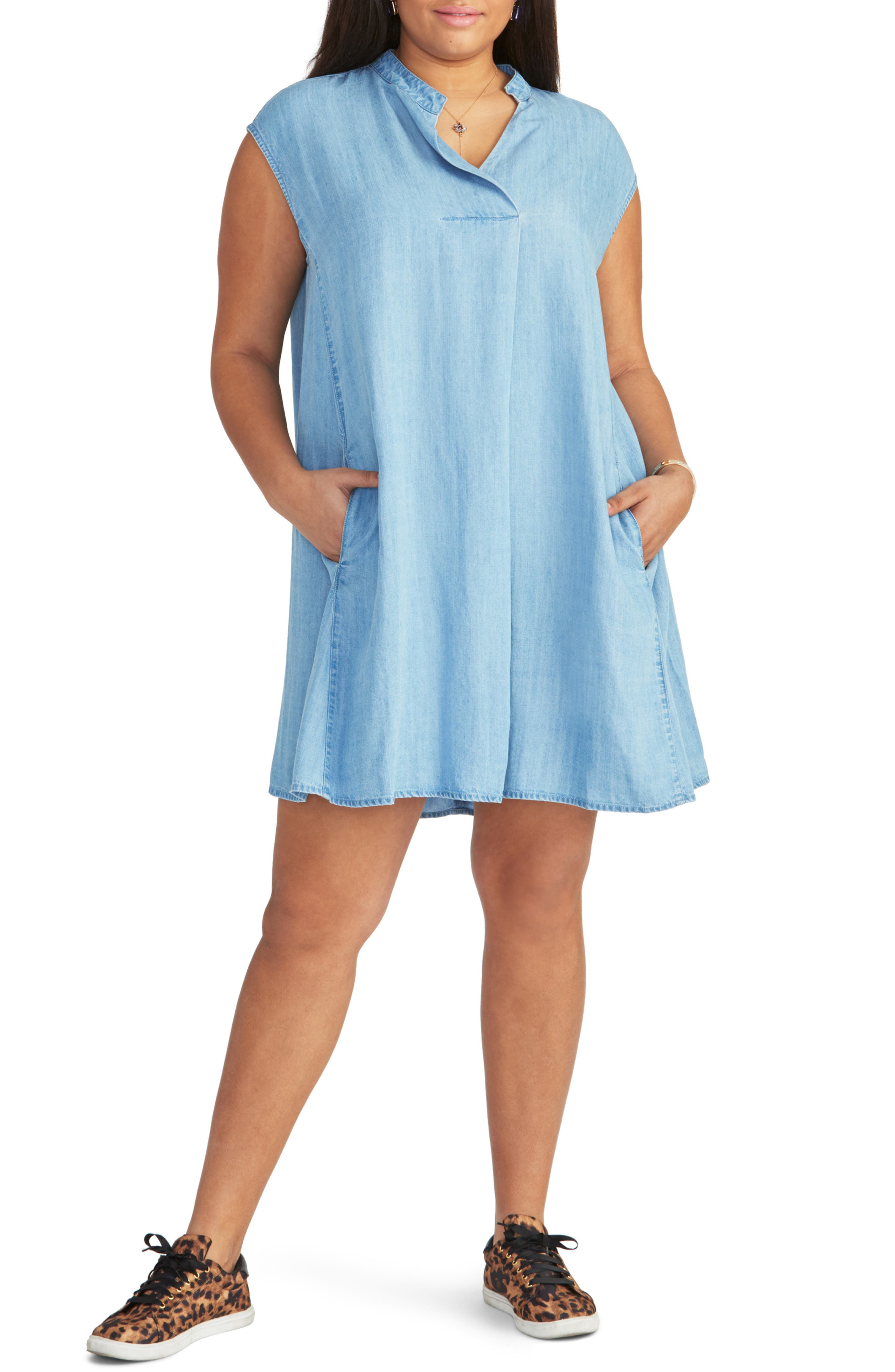 Plus Size Rachel Rachel Roy Chambray Shift Dress, Blue