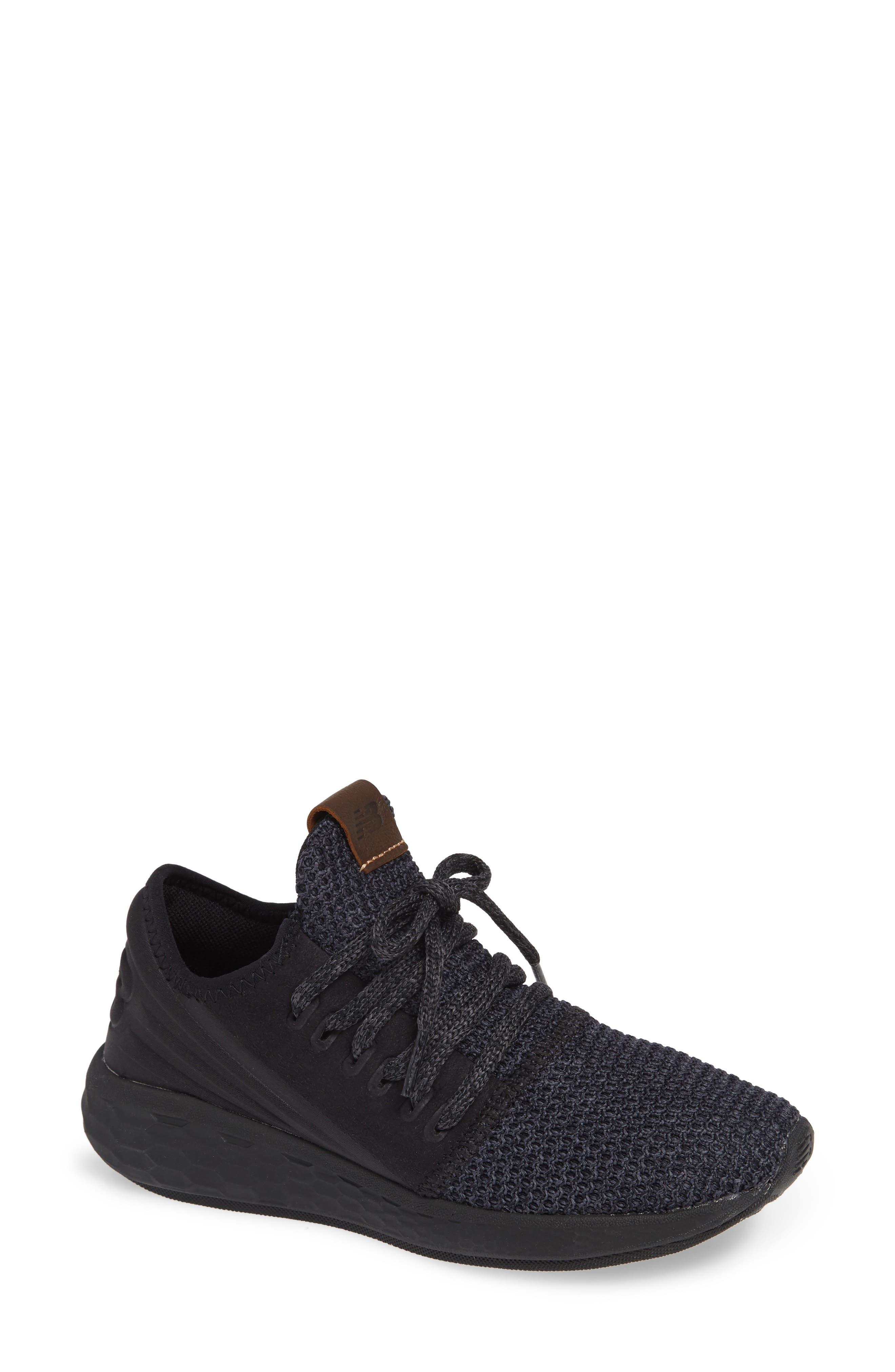 Fresh Foam Cruz Knit Running Shoe,                         Main,                         color, BLACK/ BLACK