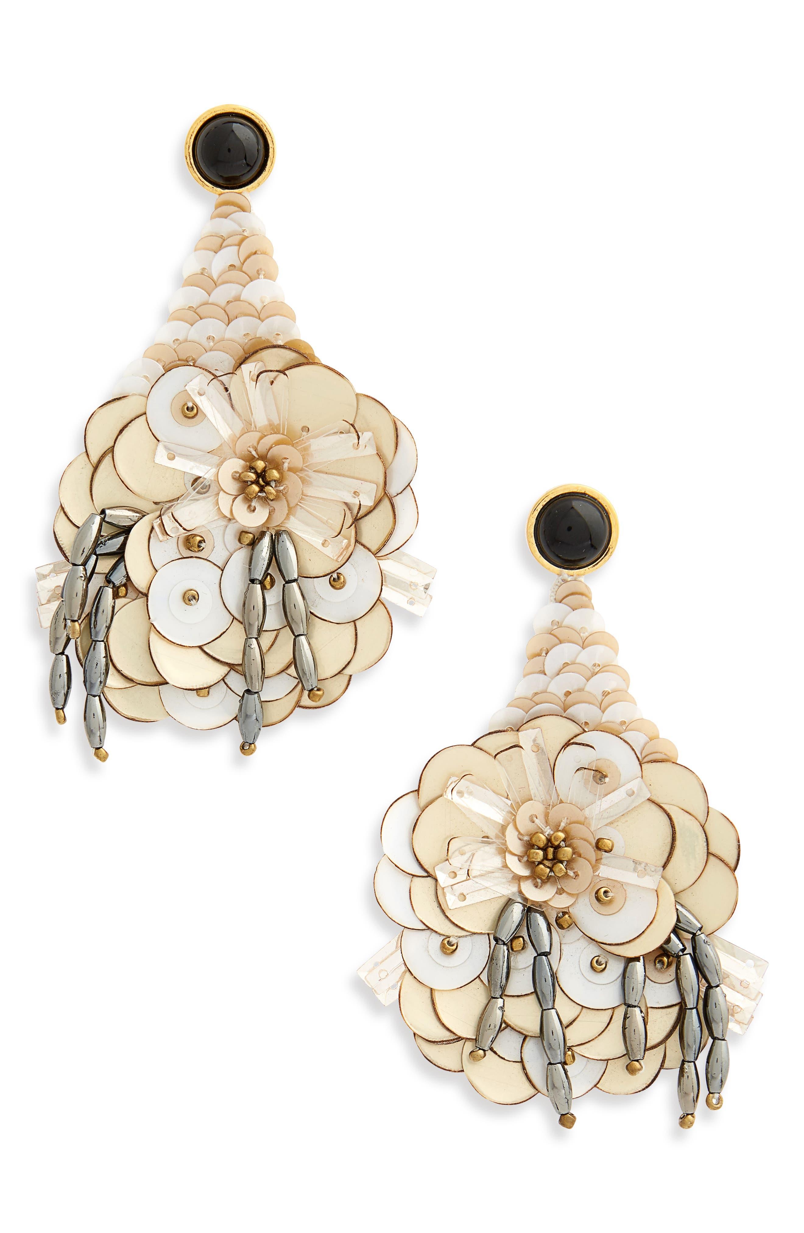 Cascade Sequin Drop Earrings,                             Main thumbnail 1, color,                             WHITE MULTI