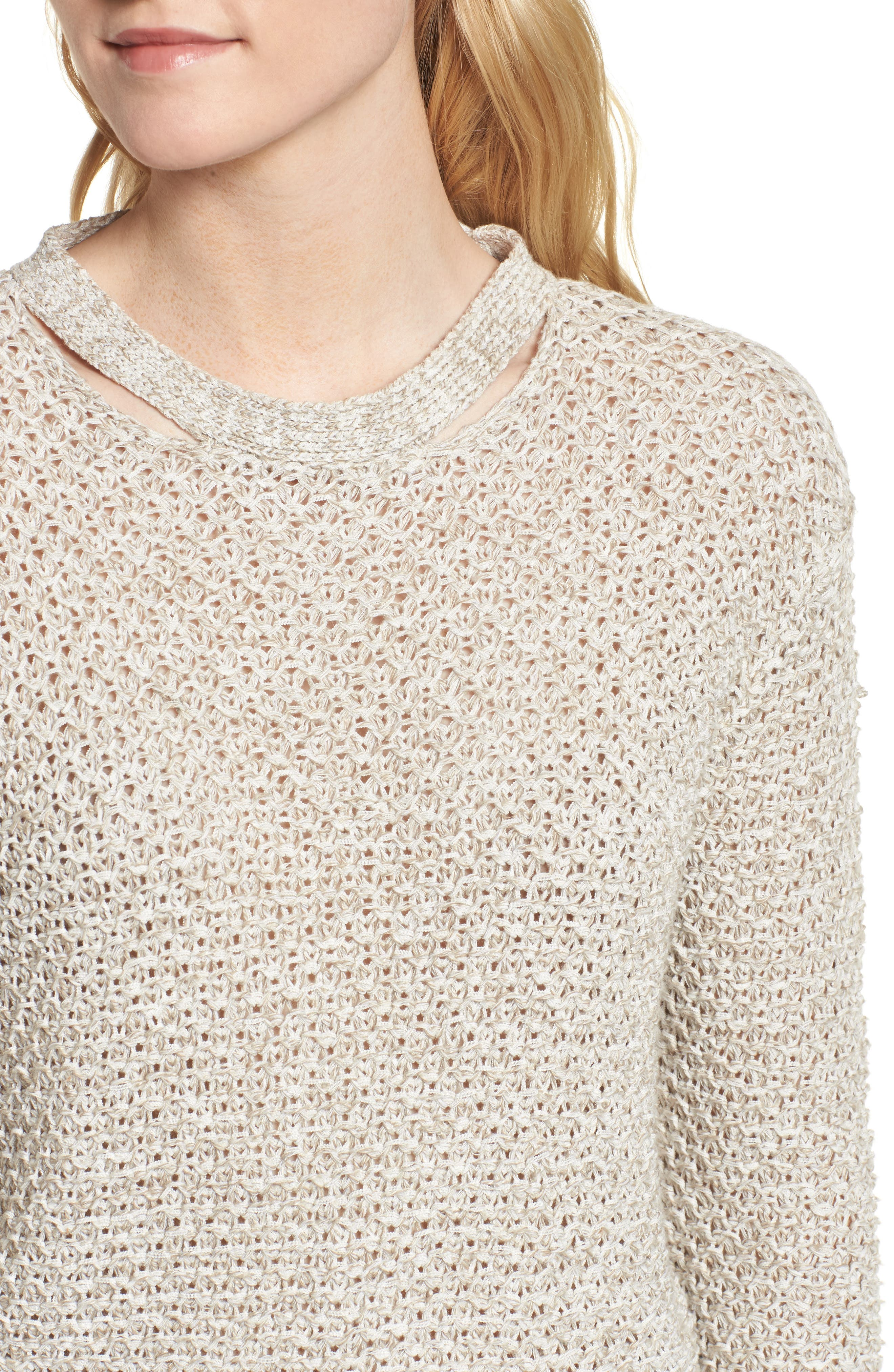 Mélange Open Back Sweater,                             Alternate thumbnail 4, color,                             238