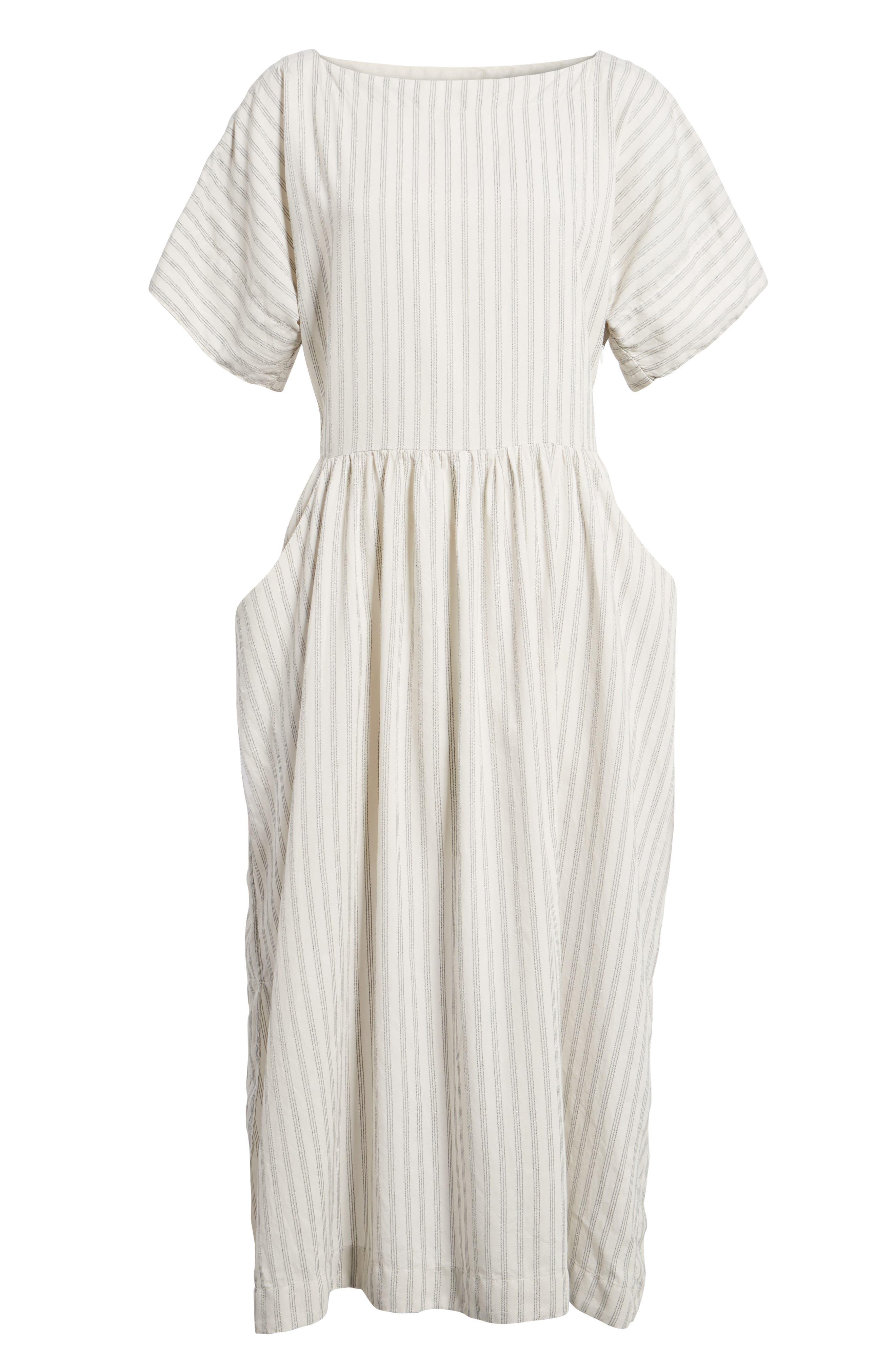 Stripe Midi Dress,                             Alternate thumbnail 6, color,                             158