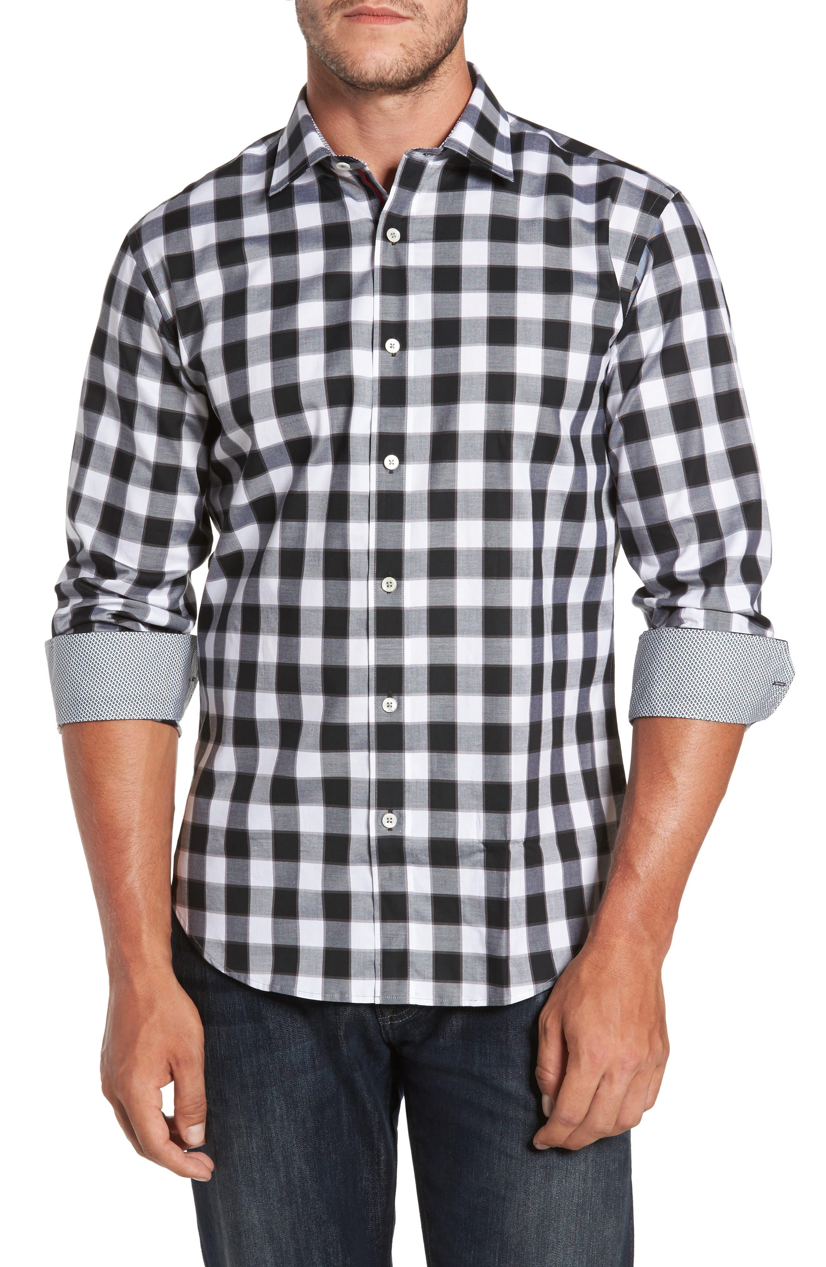Trim Fit Buffalo Plaid Sport Shirt,                         Main,                         color, 001