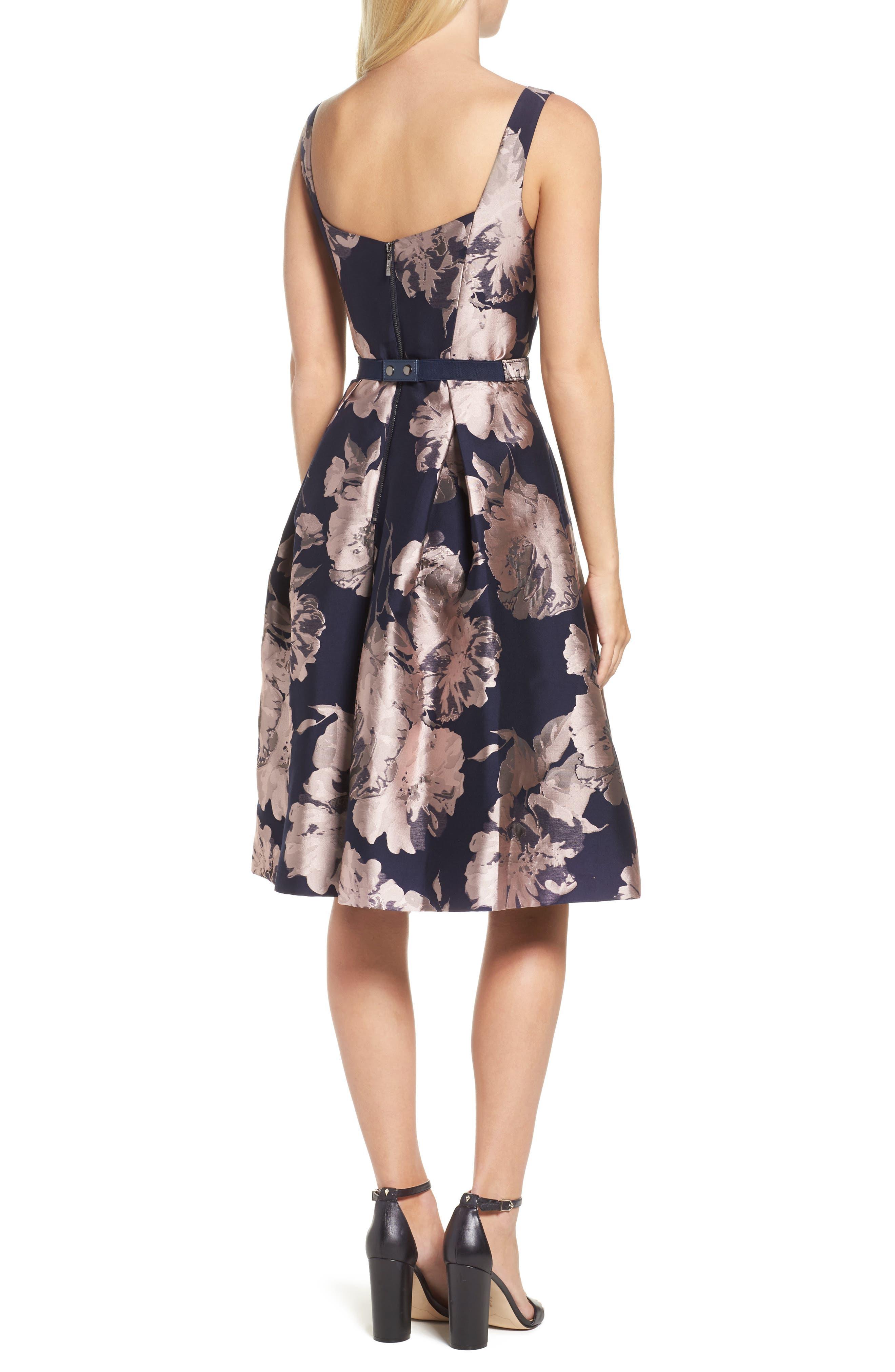 Belted Brocade A-Line Dress,                             Alternate thumbnail 2, color,                             410