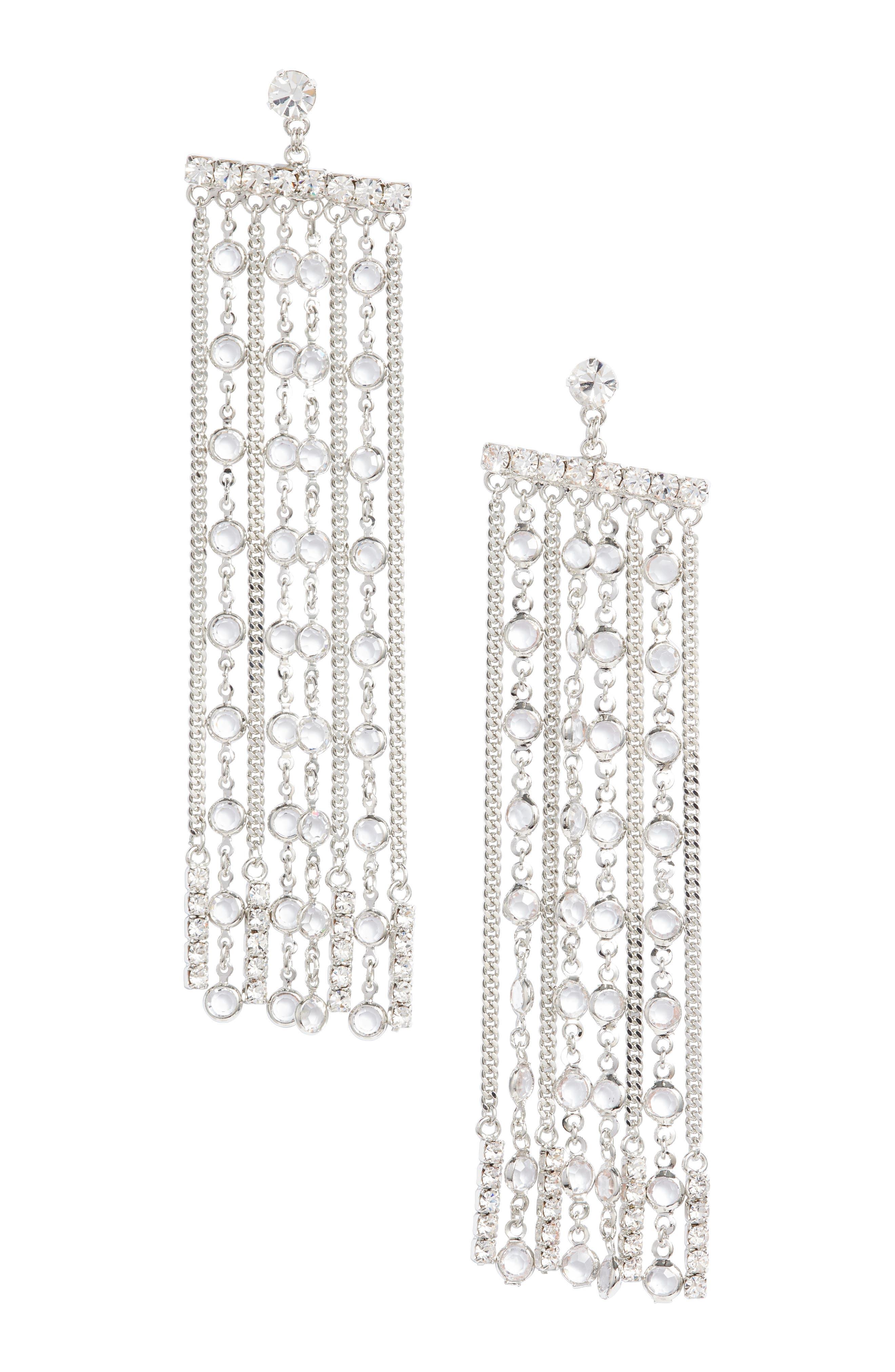 Crystal Fringe Earrings,                             Main thumbnail 2, color,