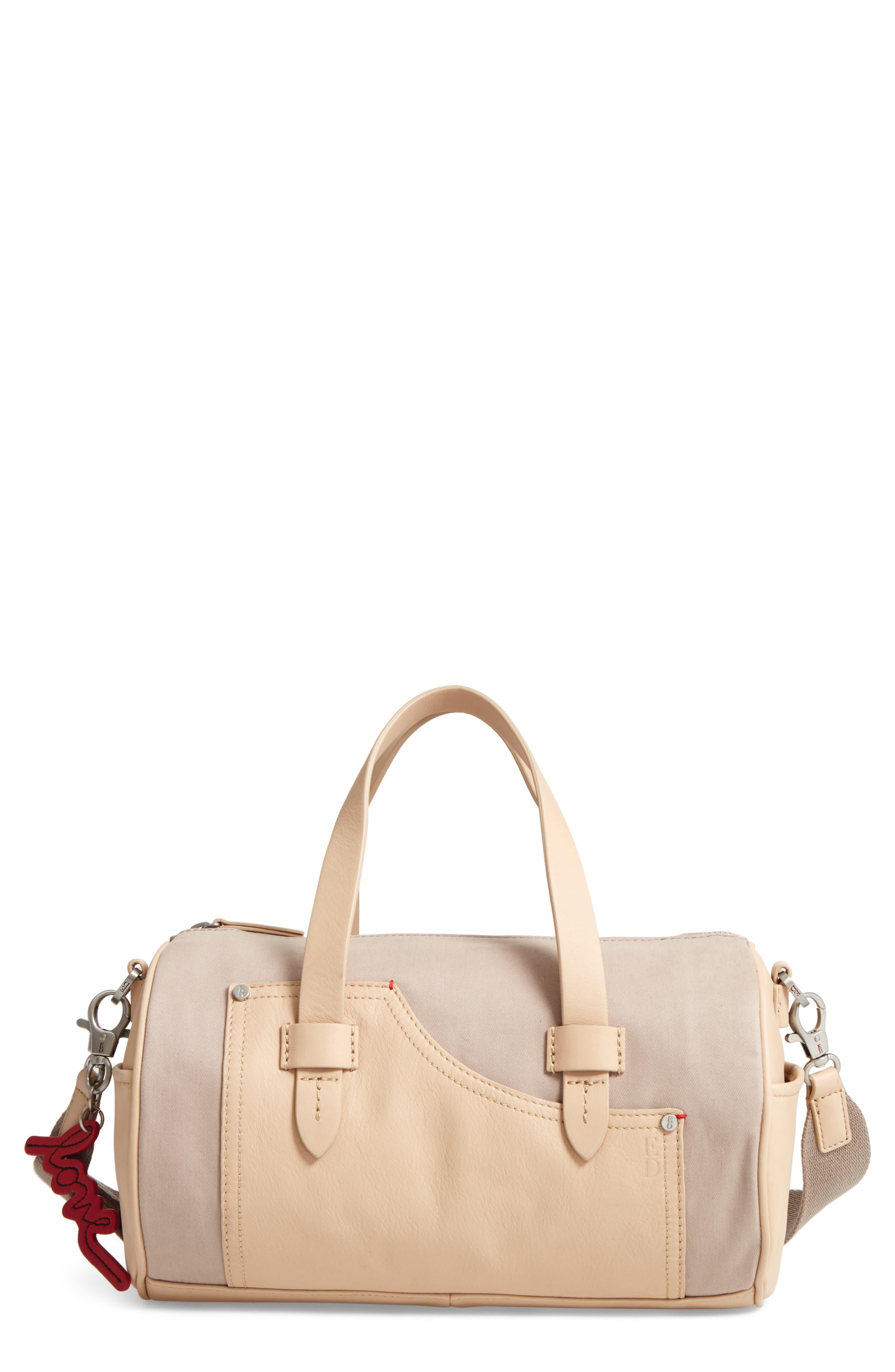 Mini Carml Leather & Canvas Barrel Bag,                             Main thumbnail 1, color,                             050