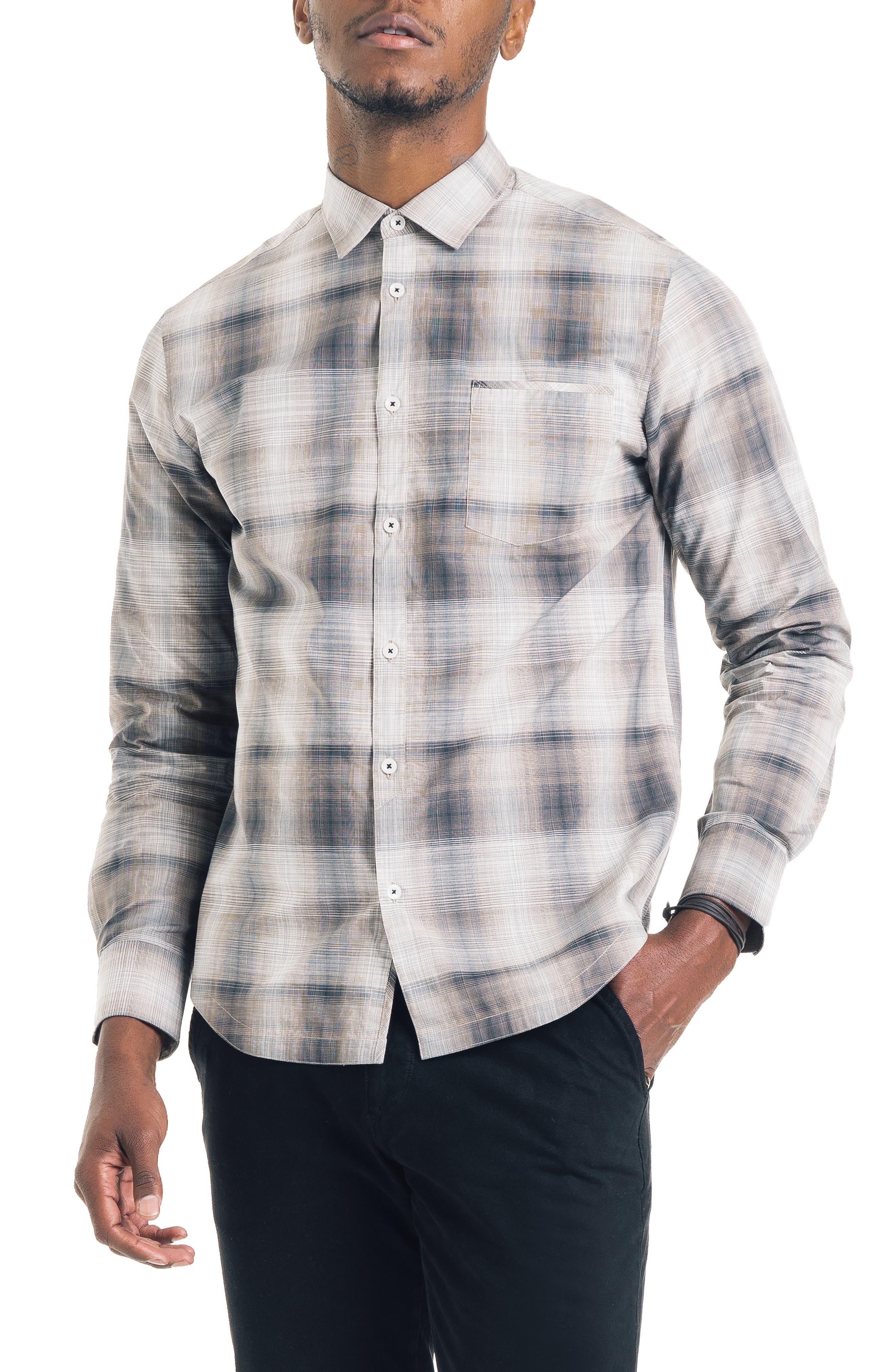 Hamachi Slim Fit Plaid Sport Shirt,                             Main thumbnail 1, color,                             DESERT