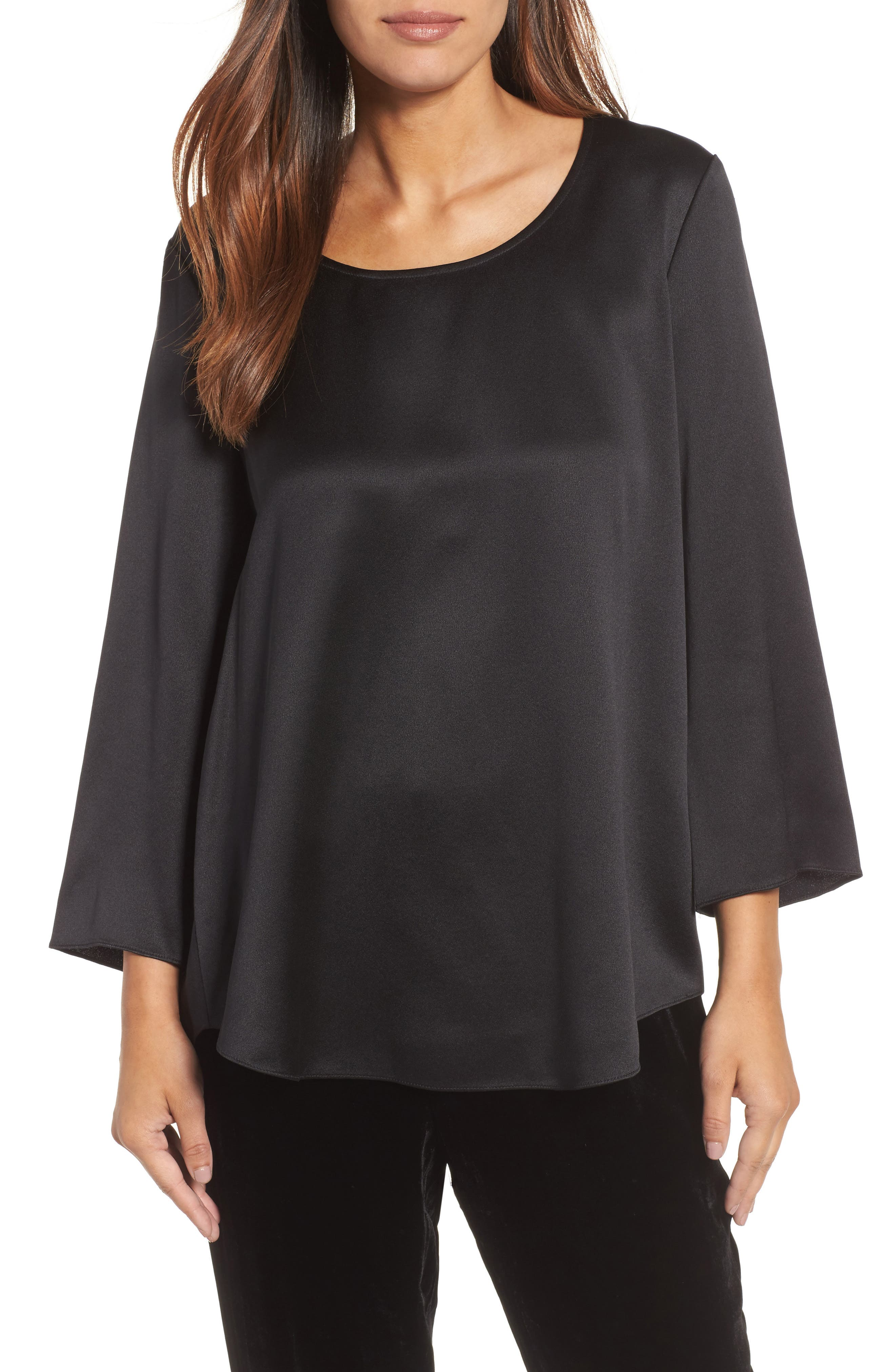 U-Neck Silk Top,                             Main thumbnail 1, color,                             001