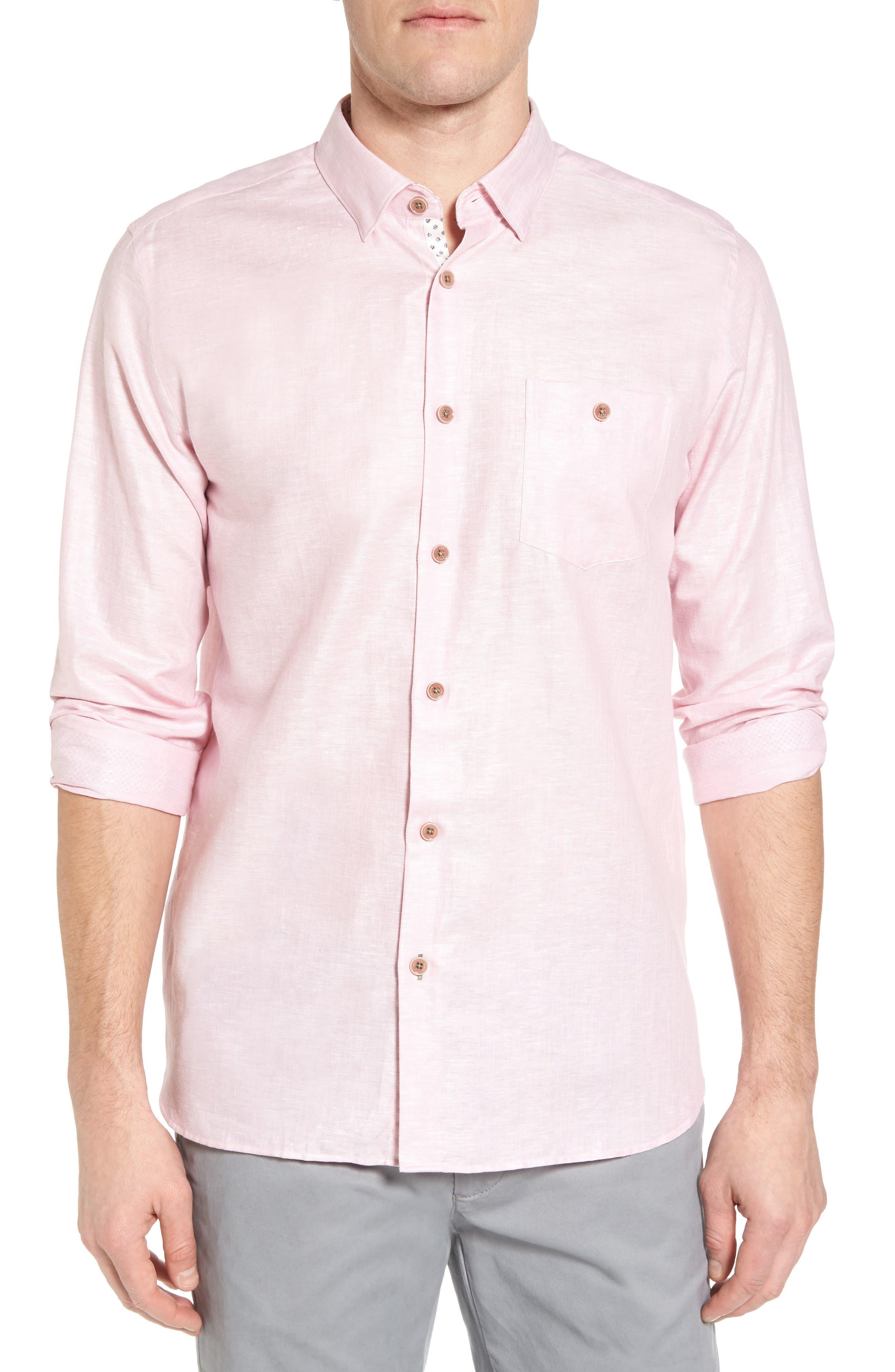 Linlins Herringbone Cotton & Linen Sport Shirt,                             Main thumbnail 5, color,