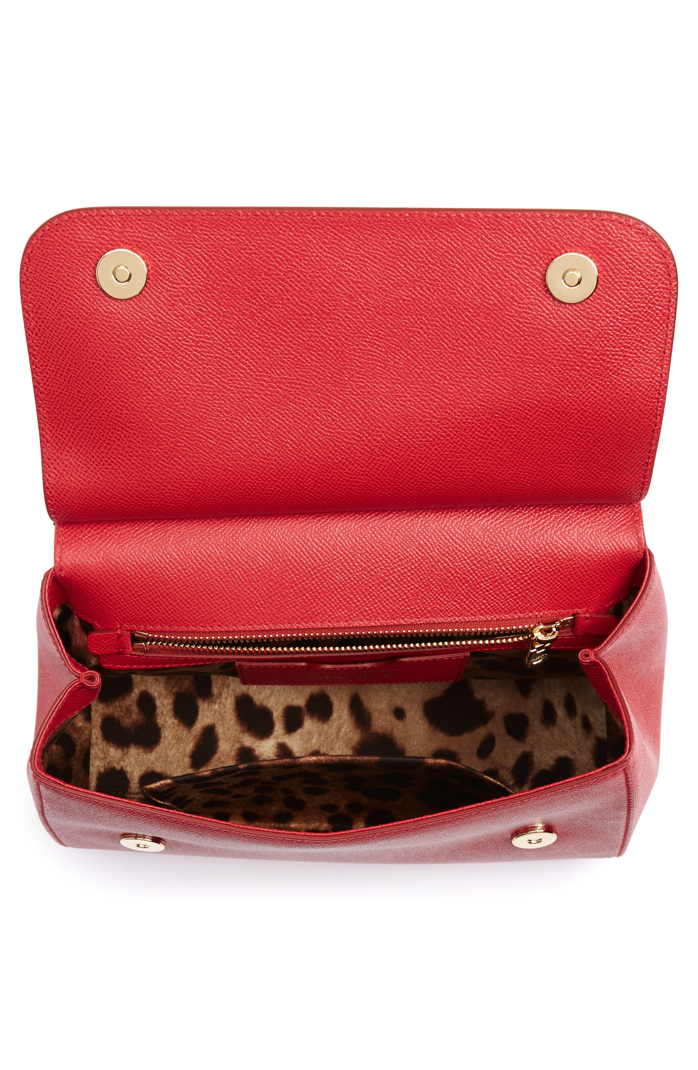 'Small Miss Sicily' Leather Satchel,                             Alternate thumbnail 4, color,                             RED