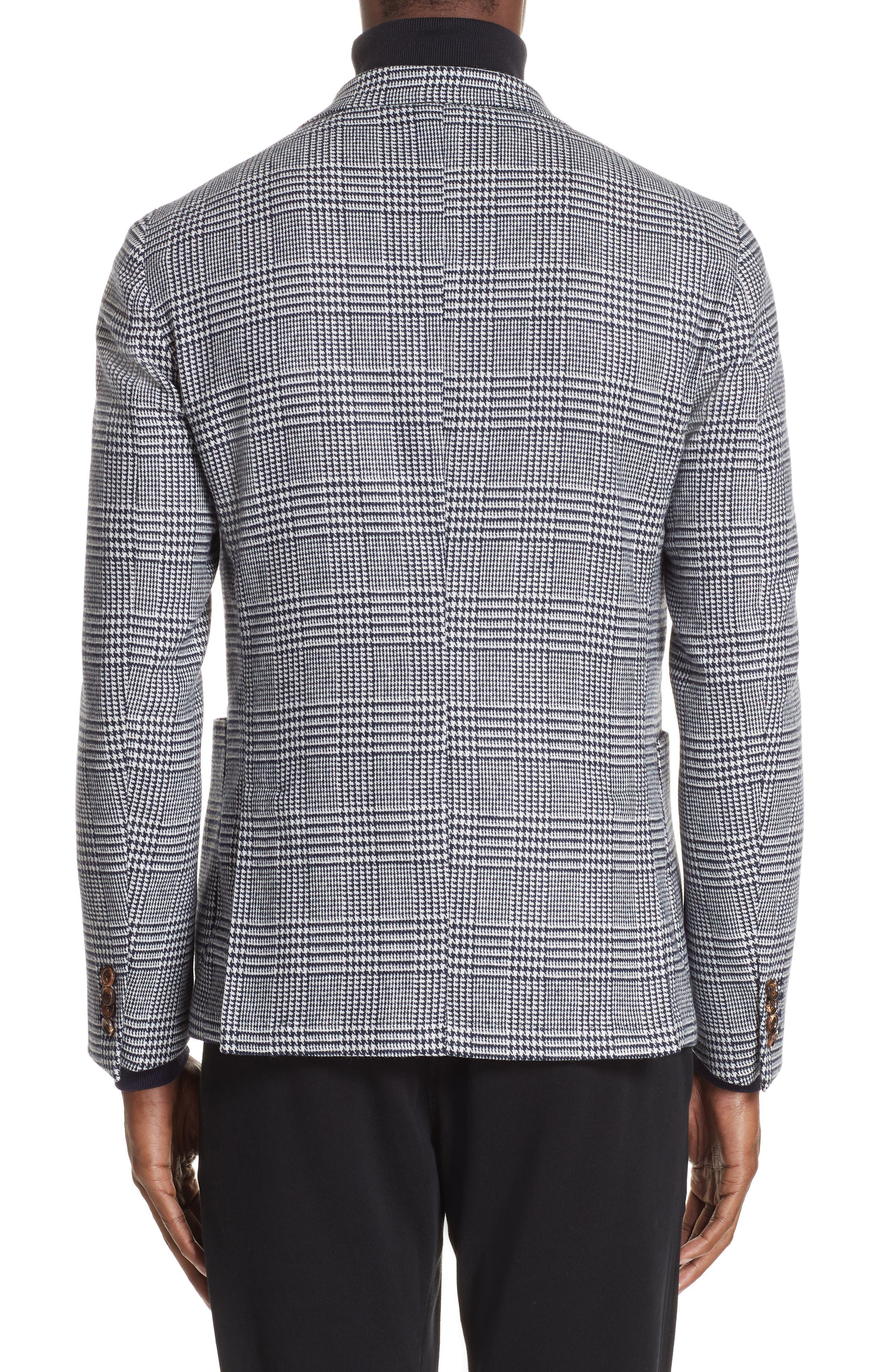 Trim Fit Plaid Stretch Wool Blend Sport Coat,                             Alternate thumbnail 2, color,                             NAVY