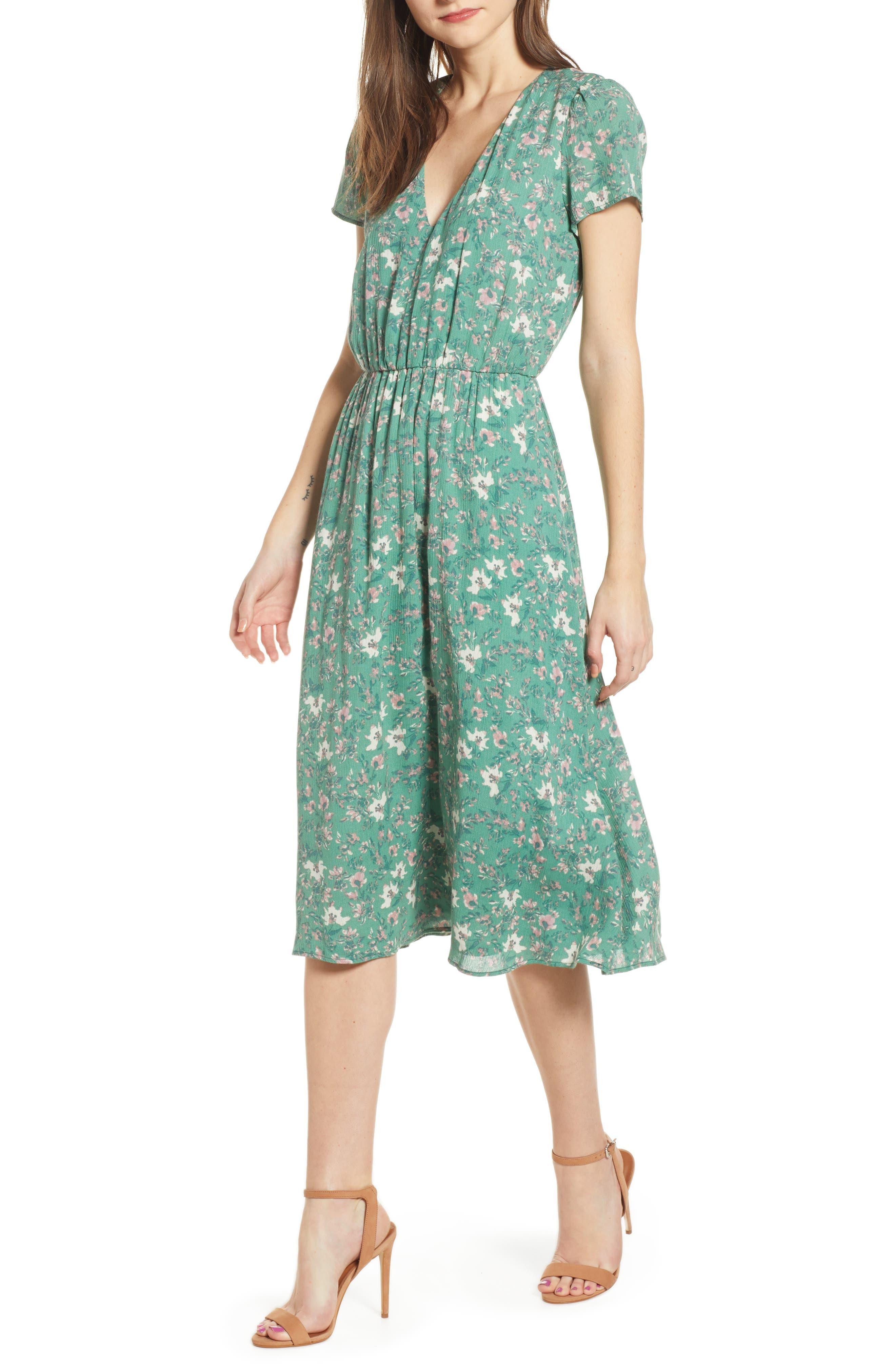 Wayf Blouson Midi Dress, Green