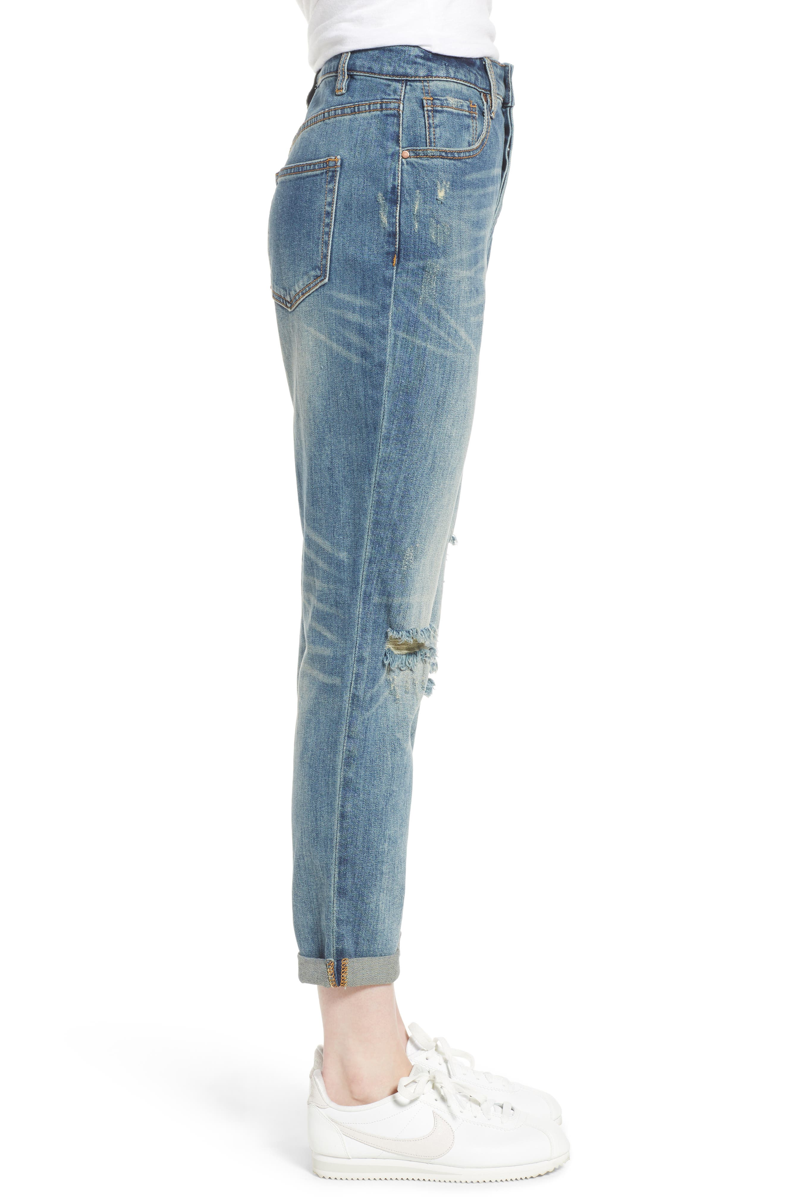 Billie Distressed Relaxed Jeans,                             Alternate thumbnail 3, color,                             CAMEO