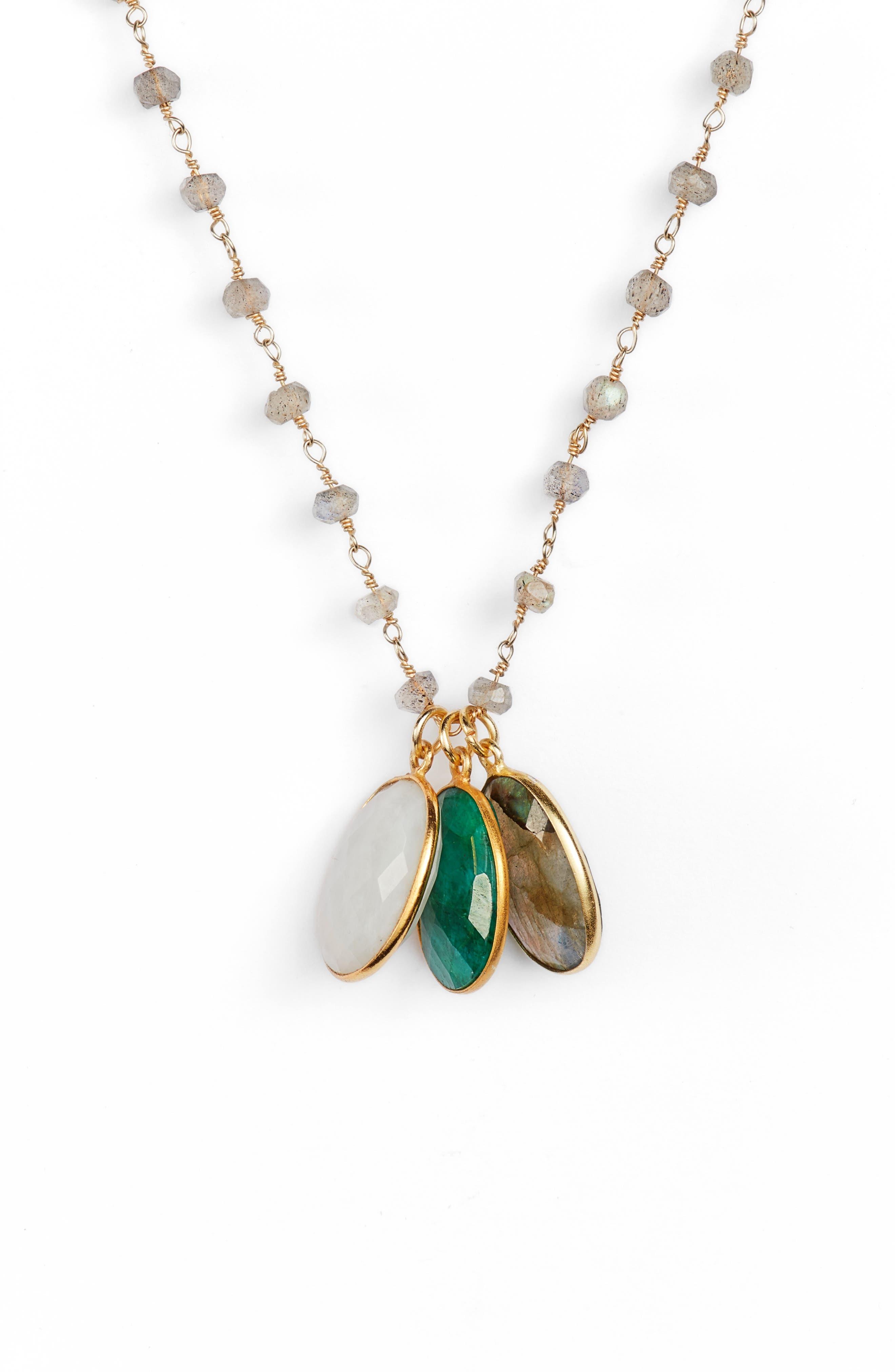 Grenada 3-Stone Necklace,                             Alternate thumbnail 2, color,                             LABRADORITE