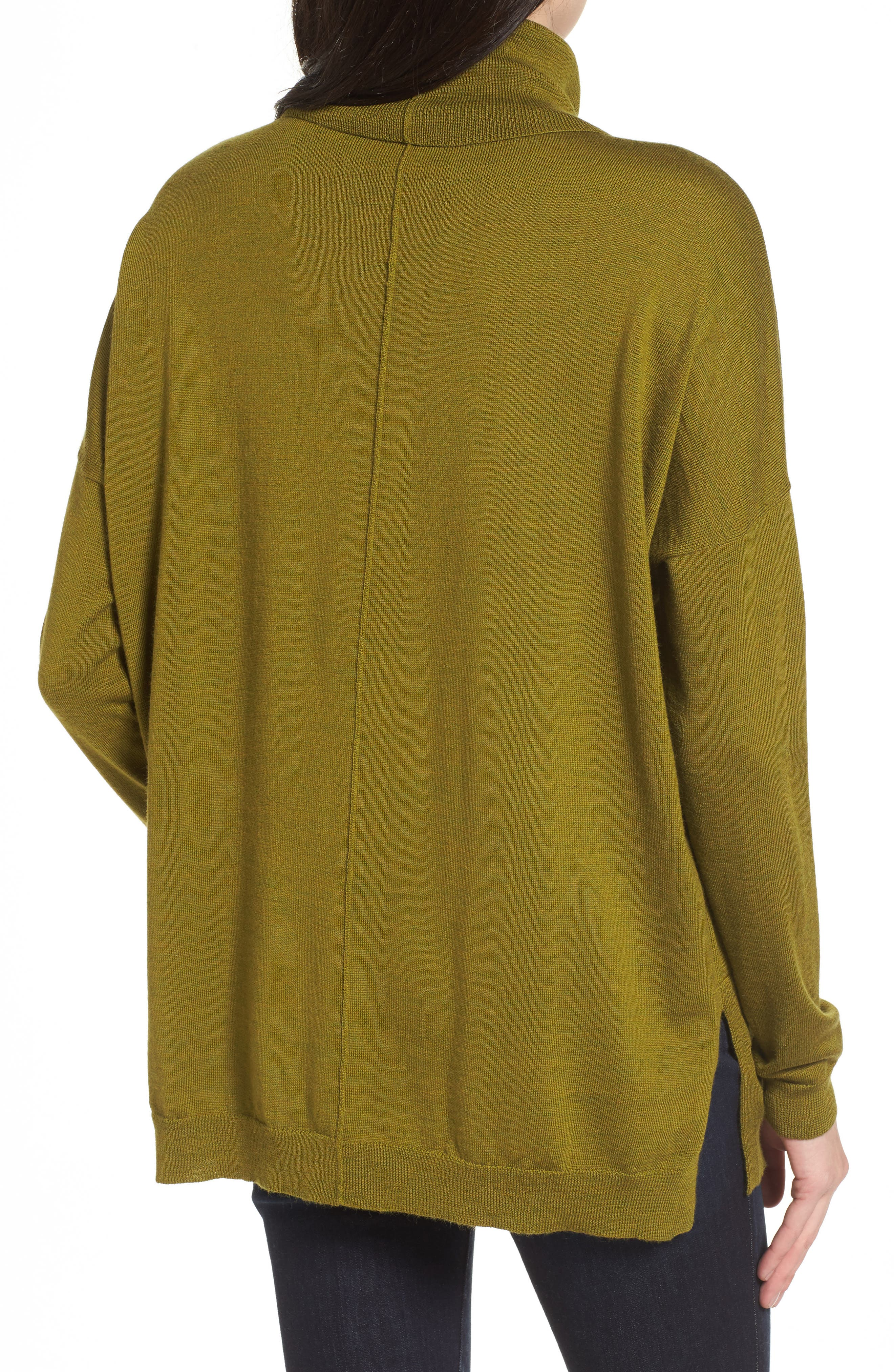 Merino Wool Boxy Turtleneck Sweater,                             Alternate thumbnail 8, color,