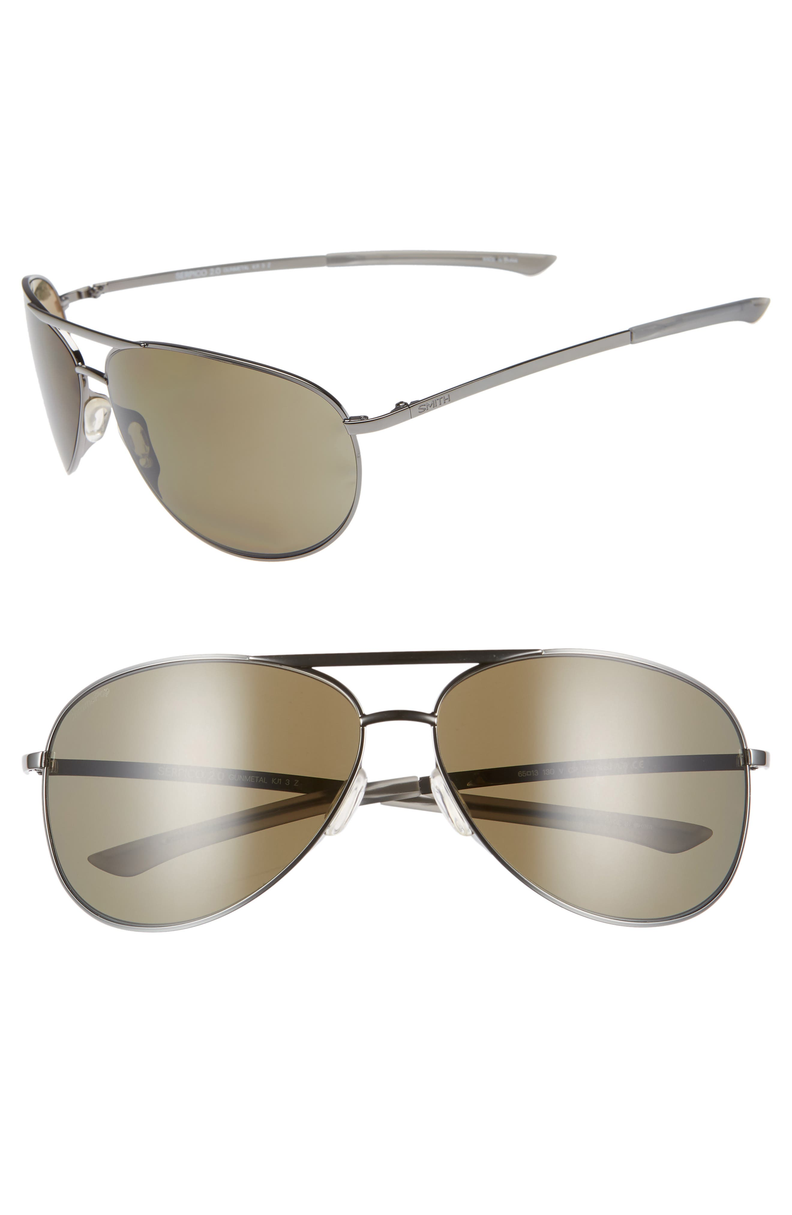 Serpico 2 65mm Mirrored ChromaPop<sup>™</sup> Polarized Aviator Sunglasses, Main, color, GUNMETAL
