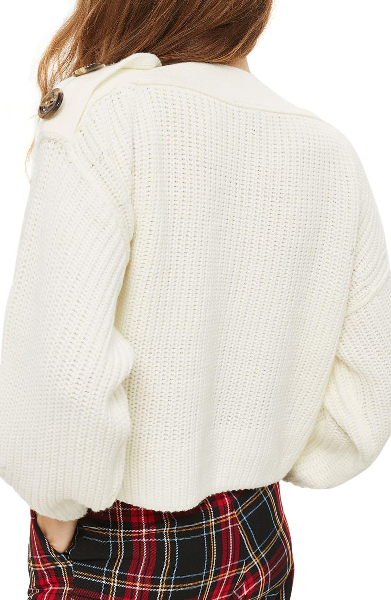 Button Slash Knit Sweater,                             Alternate thumbnail 2, color,
