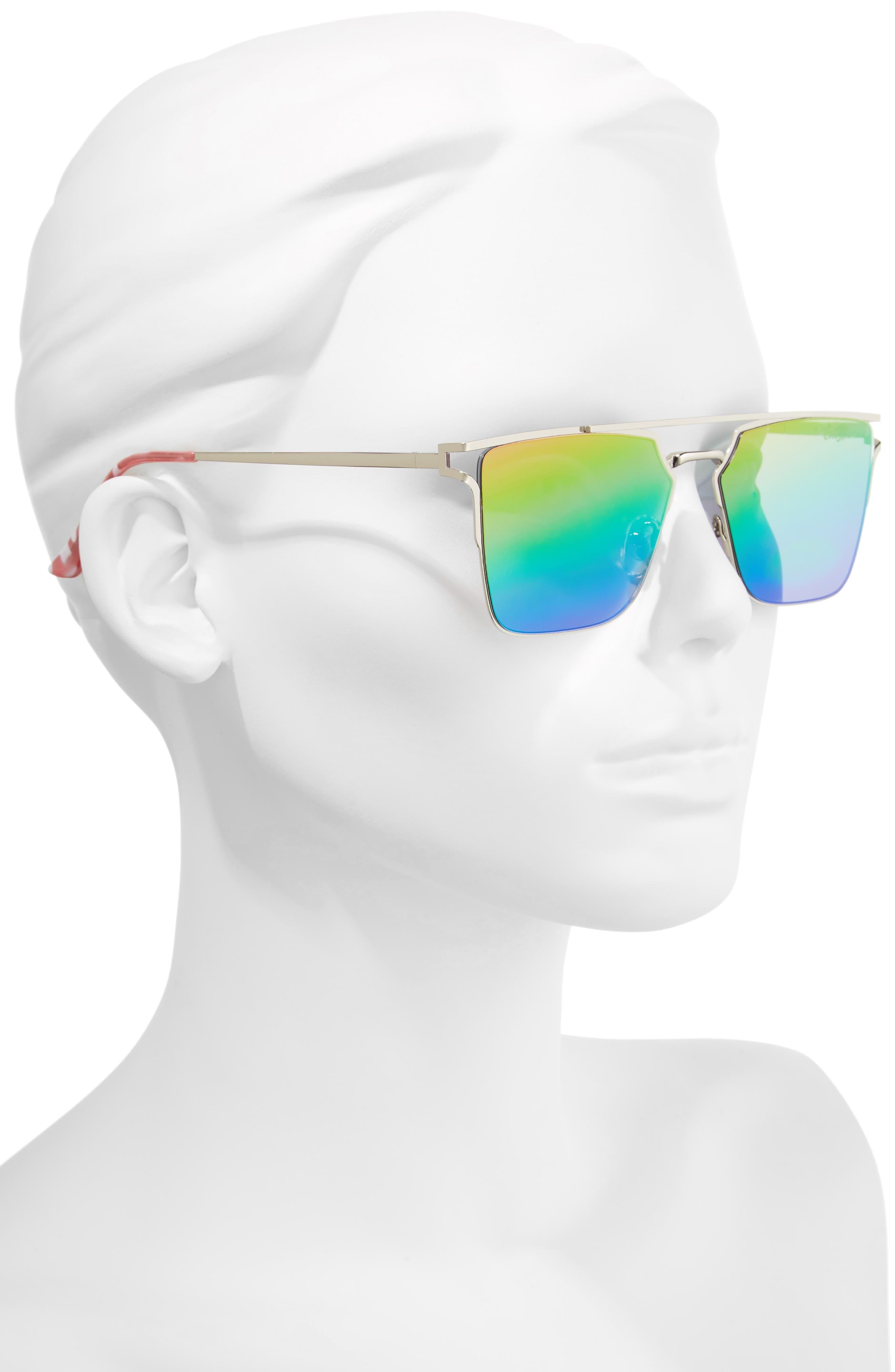 56mm Flat Top Sunglasses,                             Alternate thumbnail 6, color,