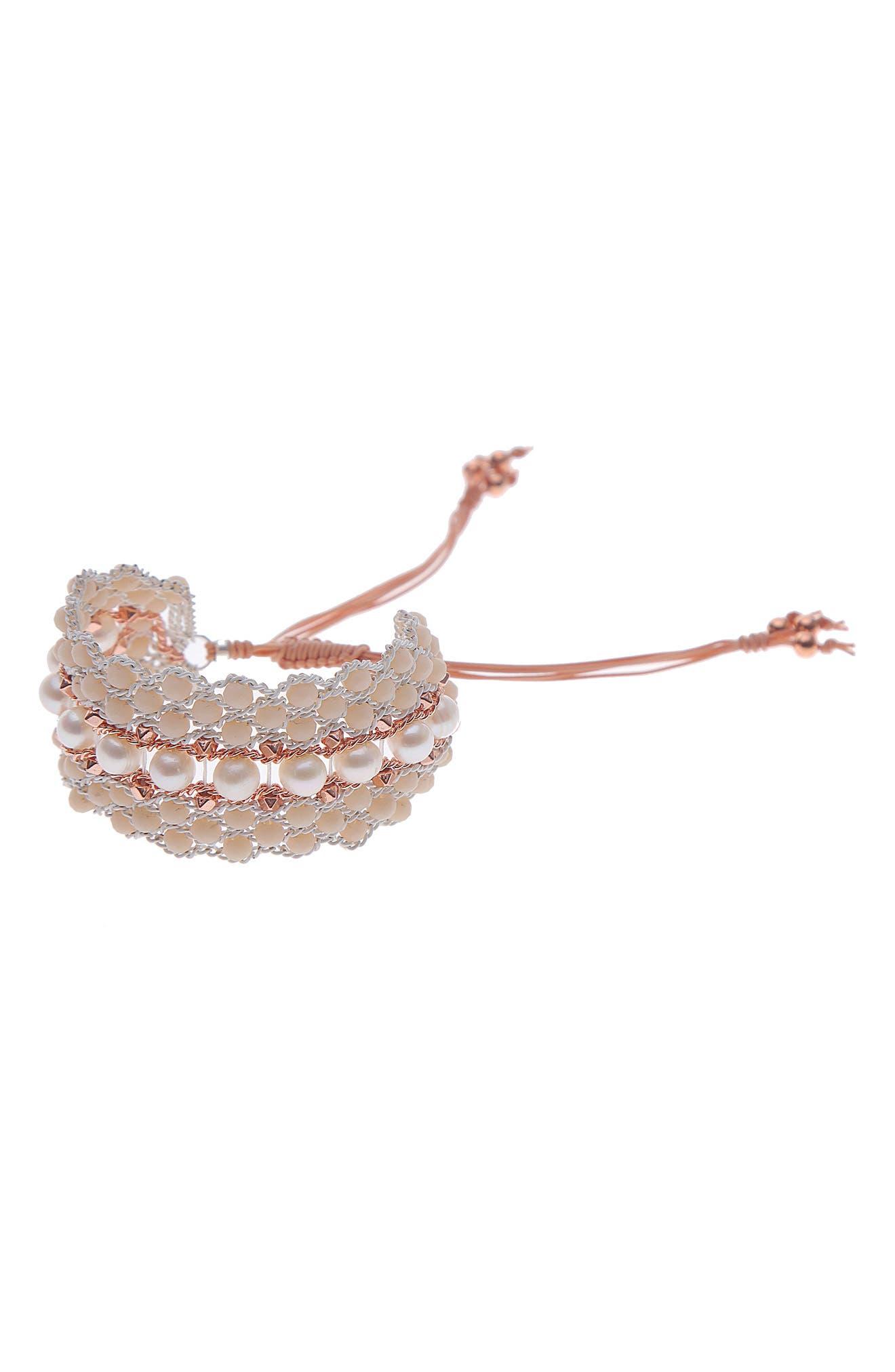 Crochet Crystal & Freshwater Pearl Bracelet,                         Main,                         color, 900