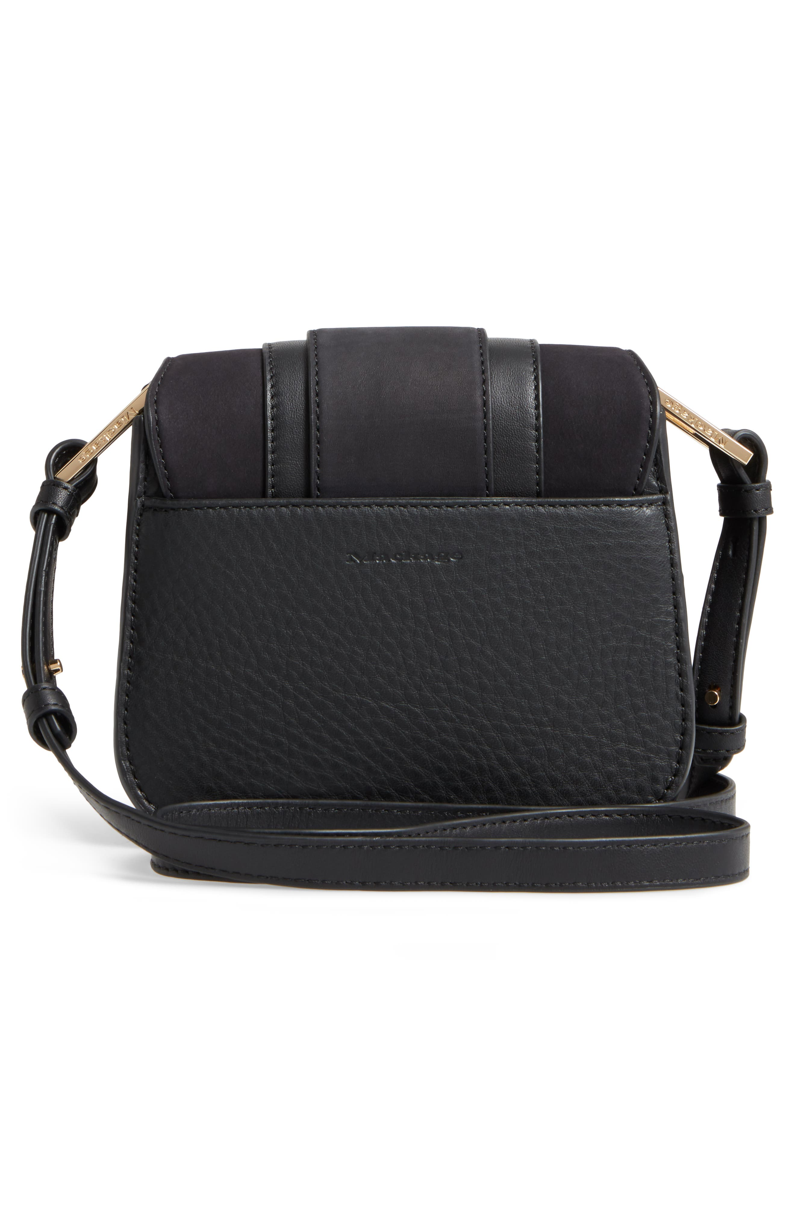 Mini Polly Leather Crossbody Bag,                             Alternate thumbnail 3, color,                             001