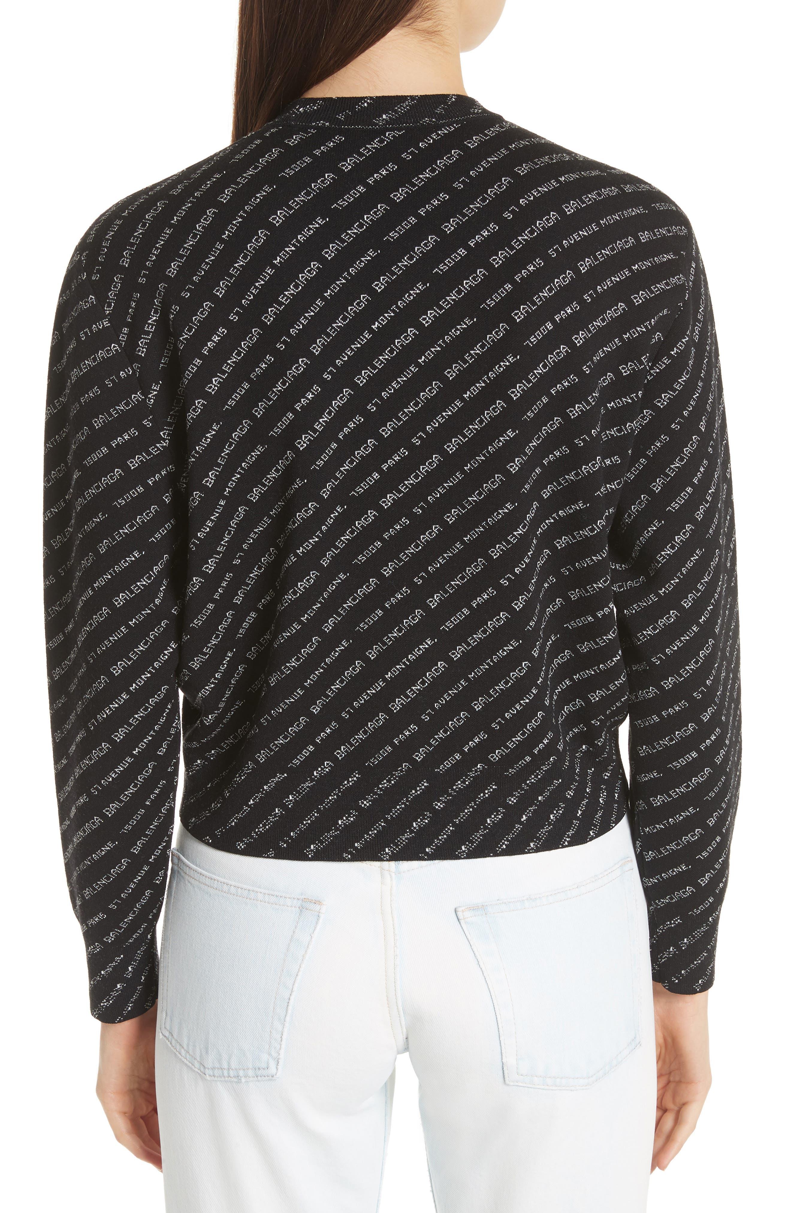BALENCIAGA,                             Logo Knit Sweater,                             Alternate thumbnail 2, color,                             001