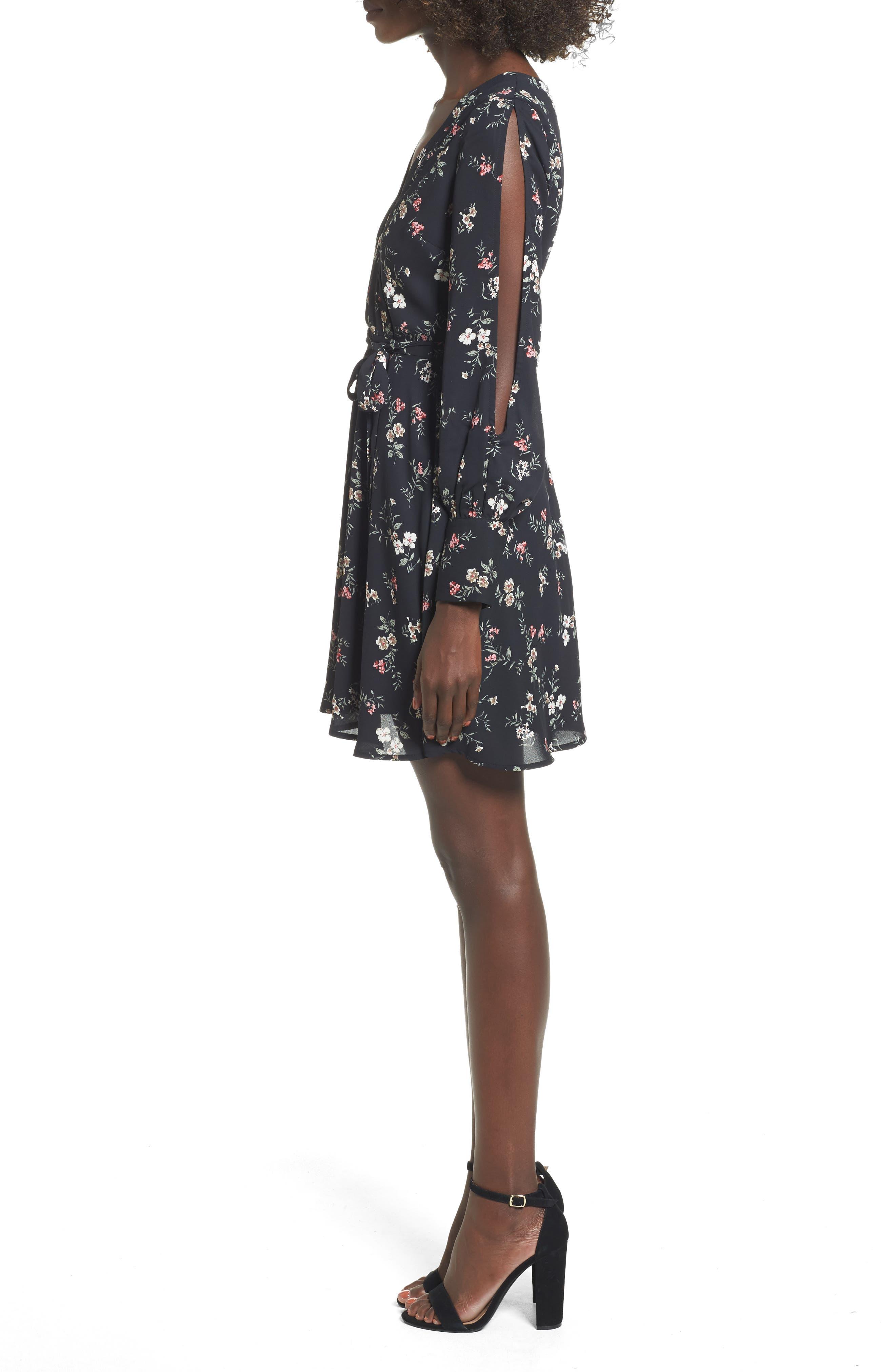 Cold Shoulder Wrap Style Dress,                             Alternate thumbnail 3, color,                             001
