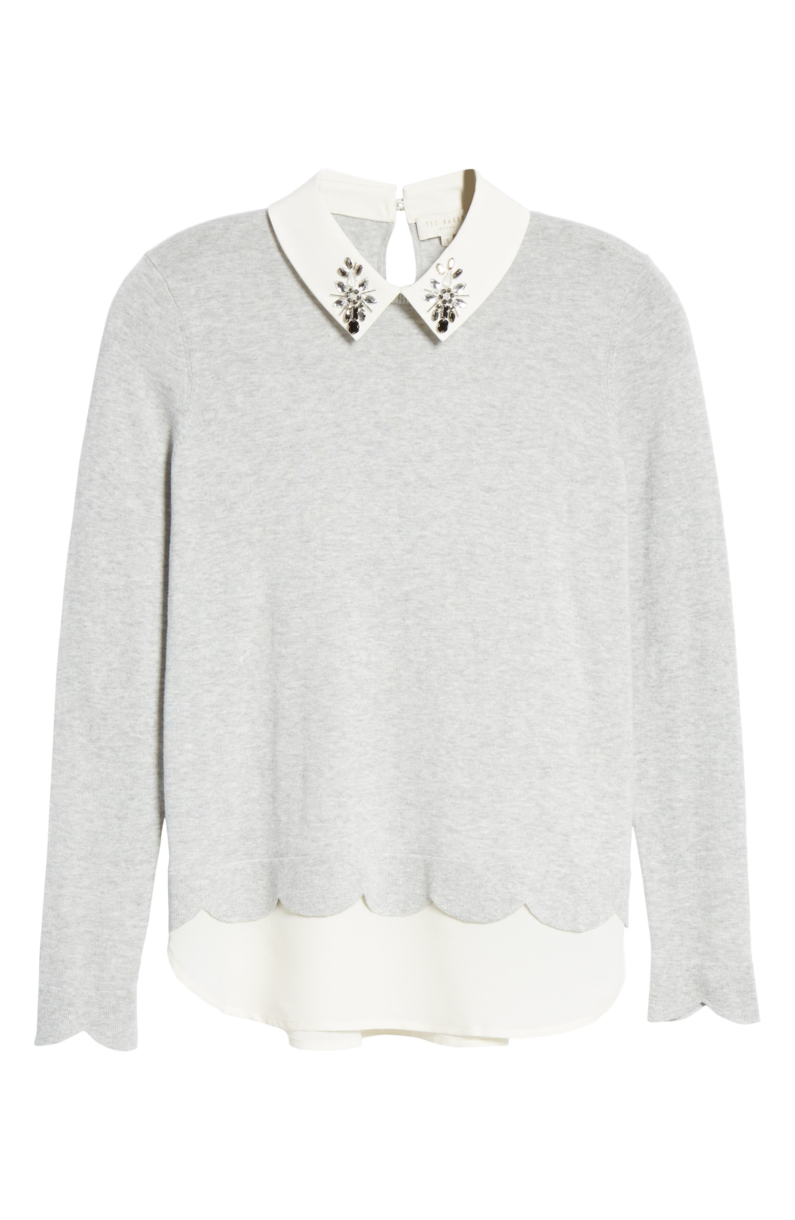Suzaine Layered Sweater,                             Alternate thumbnail 6, color,                             GREY