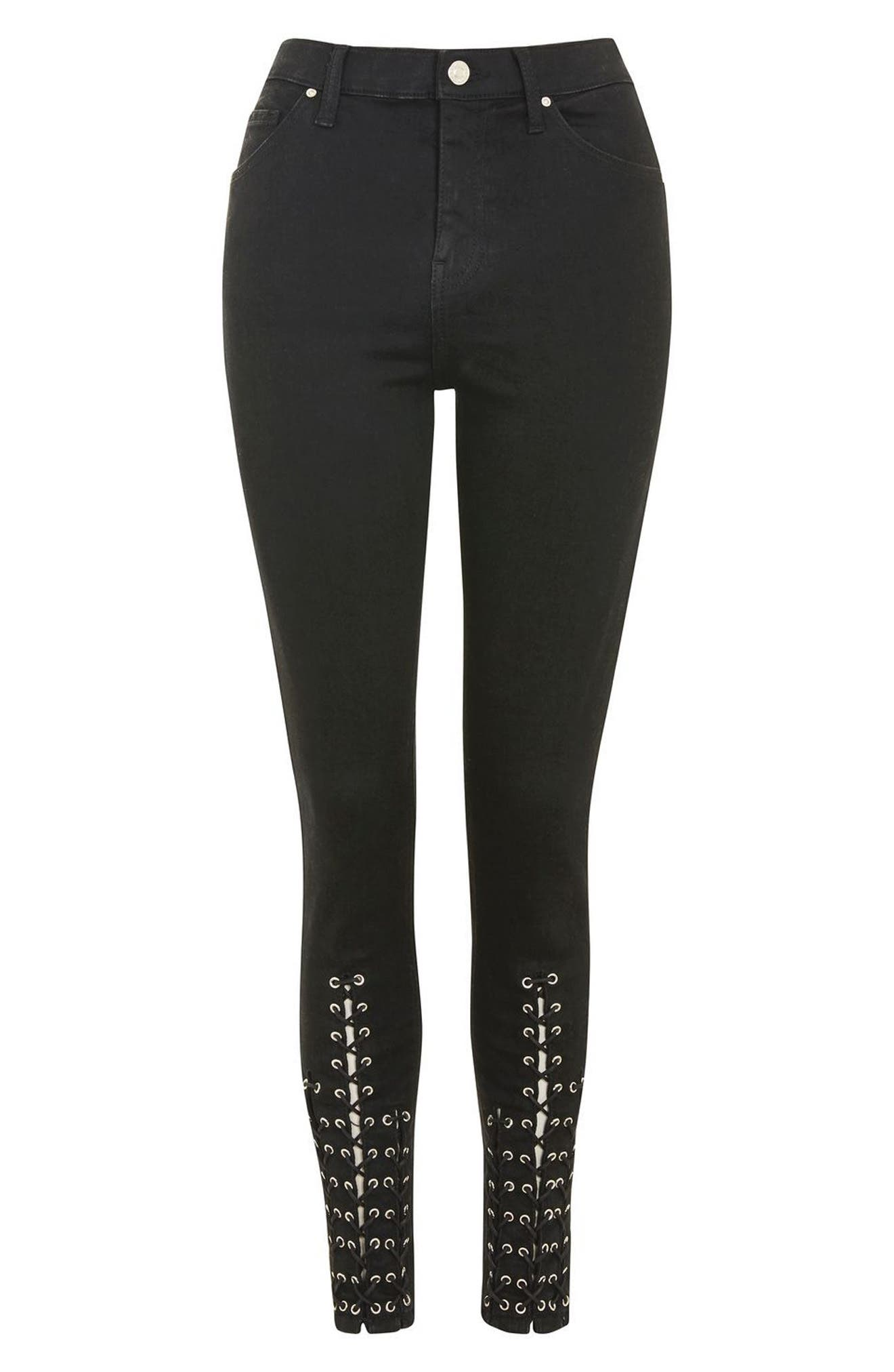Lattice Crop Skinny Jeans,                             Alternate thumbnail 4, color,                             001