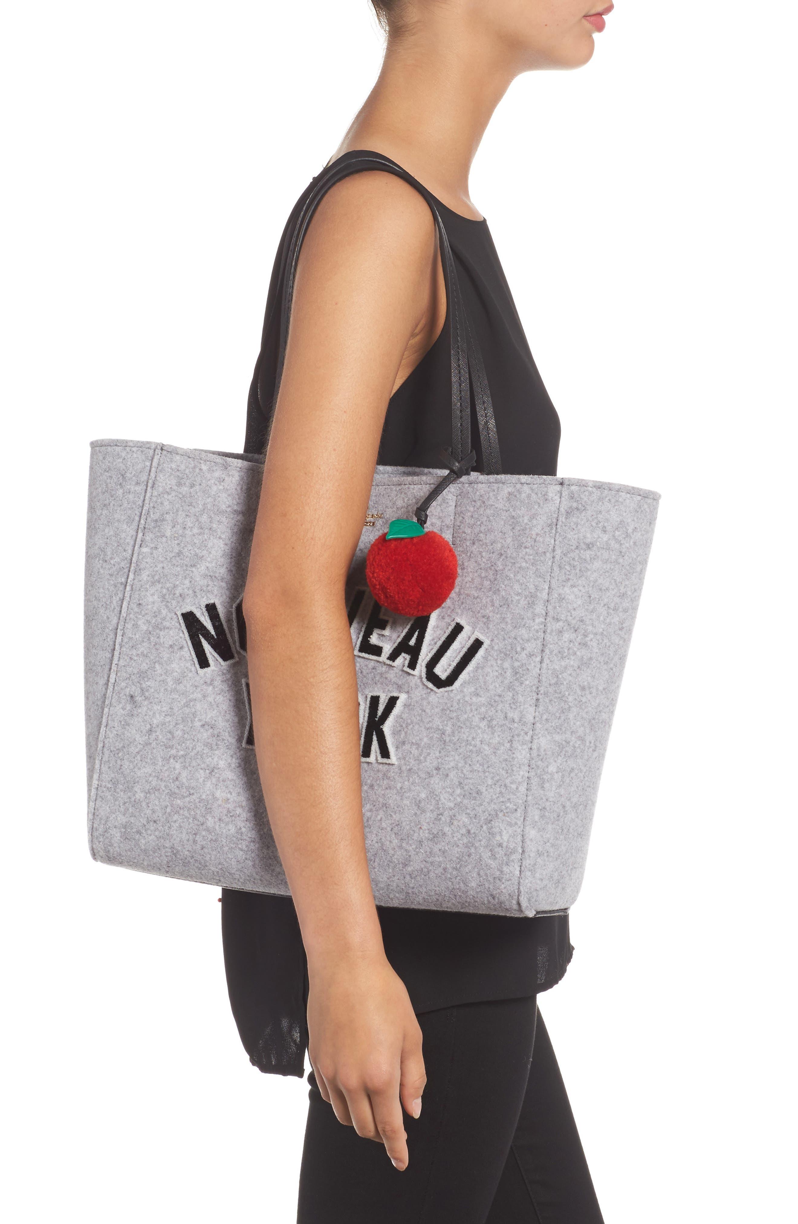 nouveau york - hallie flannel tote & apple pom bag charm,                             Alternate thumbnail 2, color,                             027