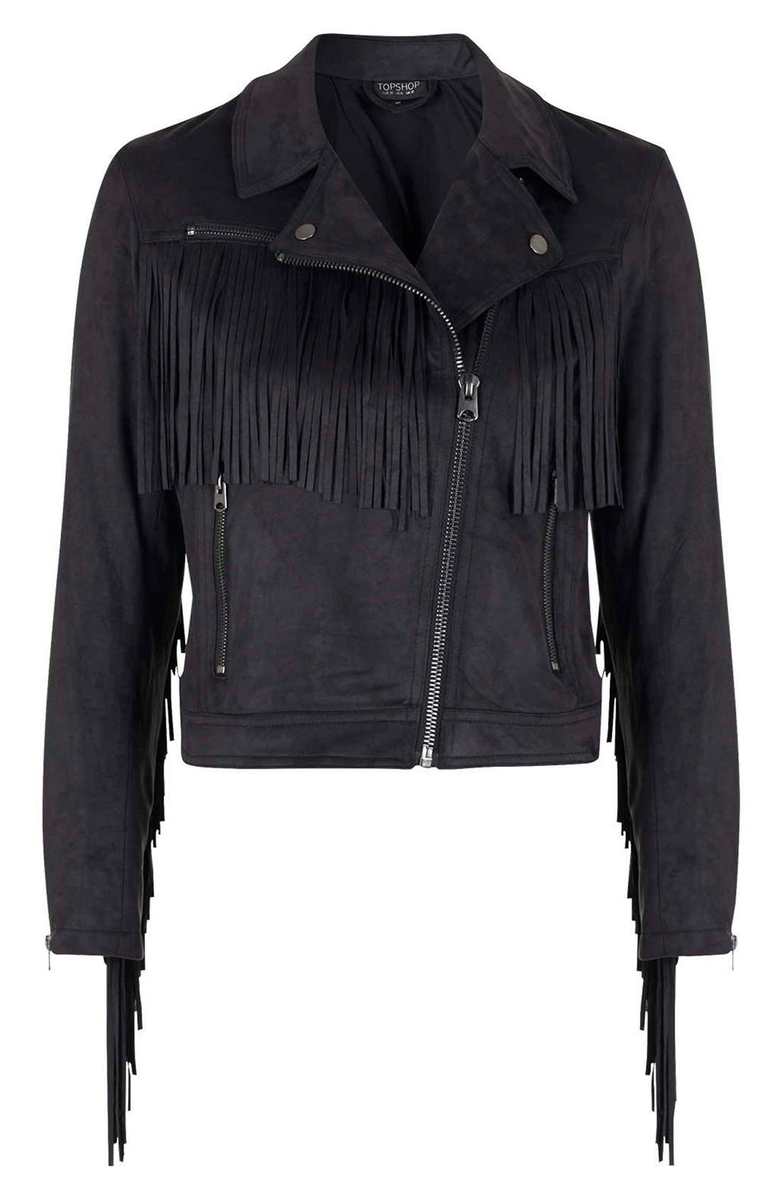 'Fliss' Asymmetrical Faux Suede Biker Jacket,                             Alternate thumbnail 2, color,                             410