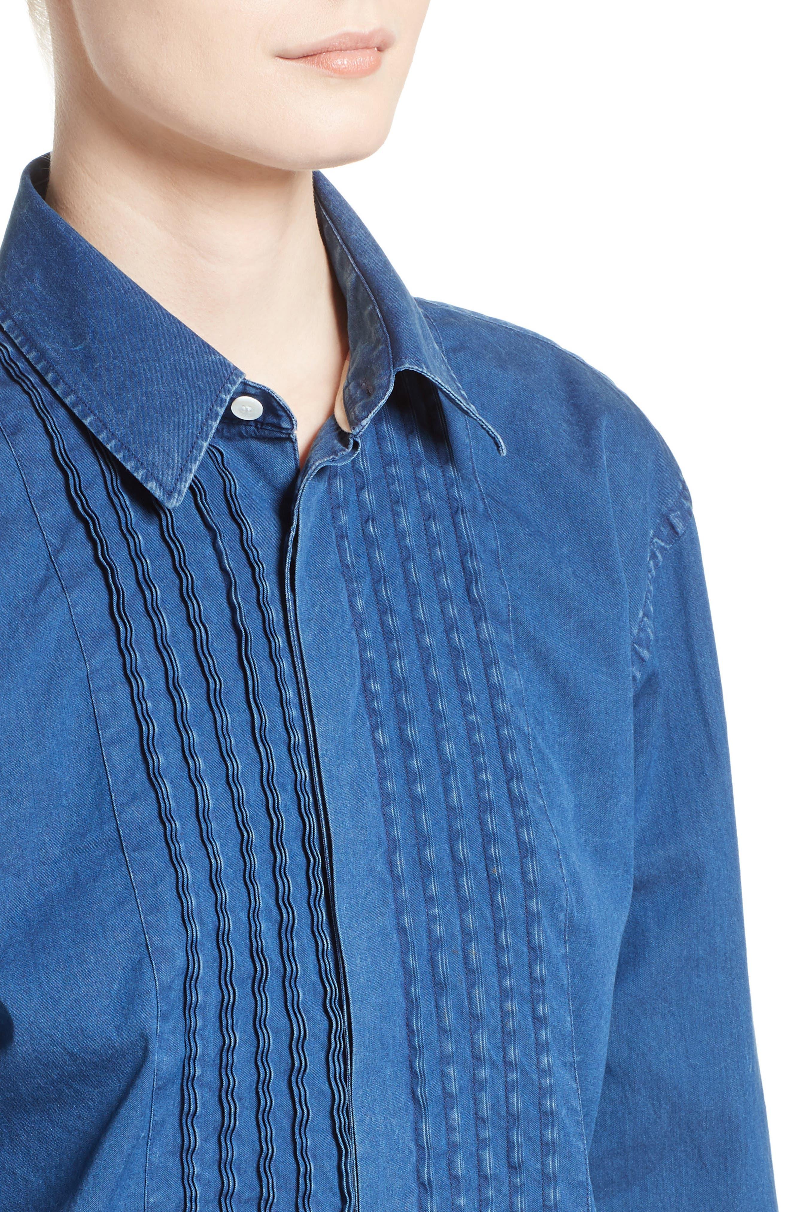 Jaden Pintuck Denim Shirt,                             Alternate thumbnail 4, color,                             409