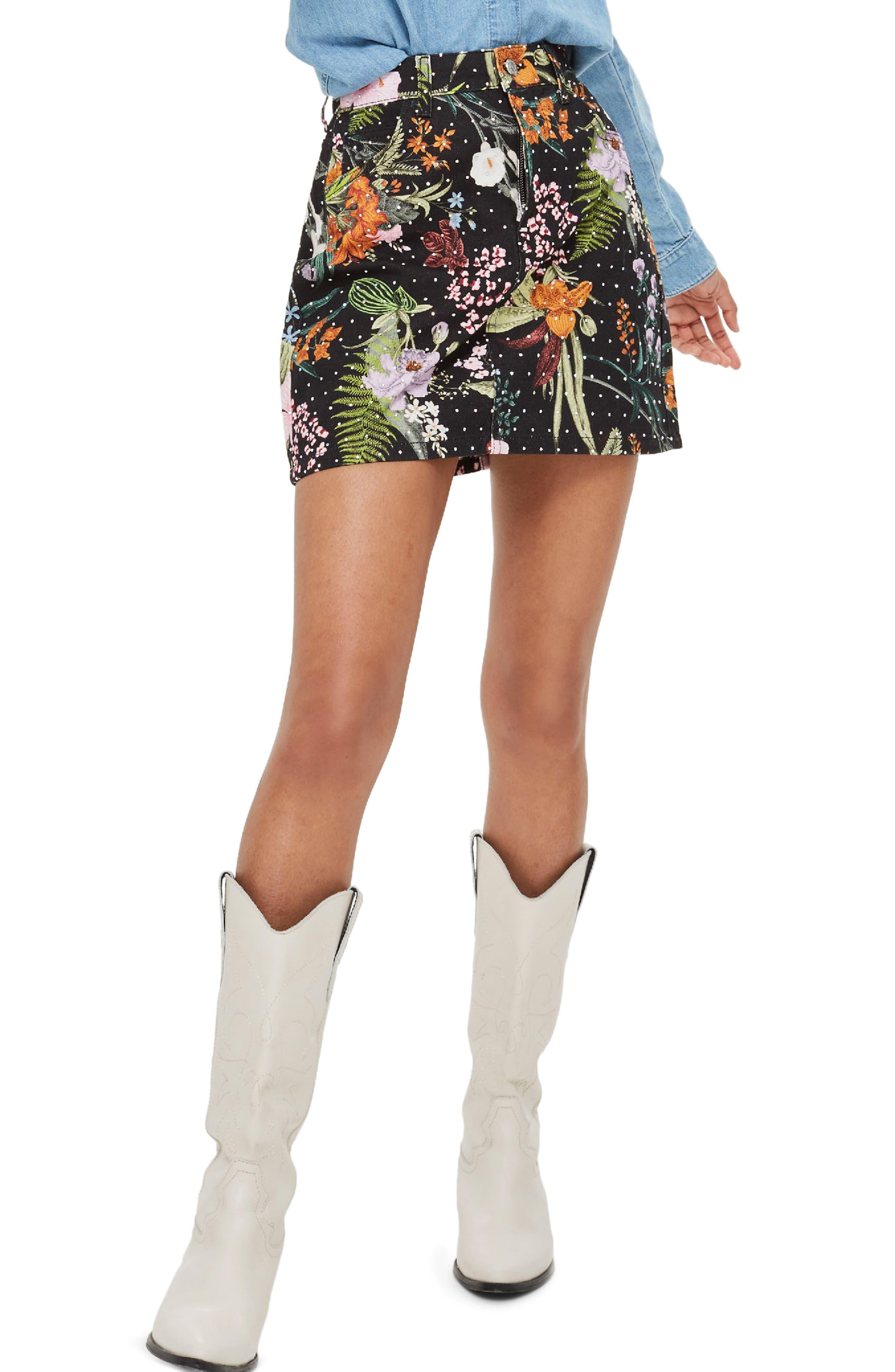 Floral Crystal Denim Skirt,                             Main thumbnail 1, color,                             001