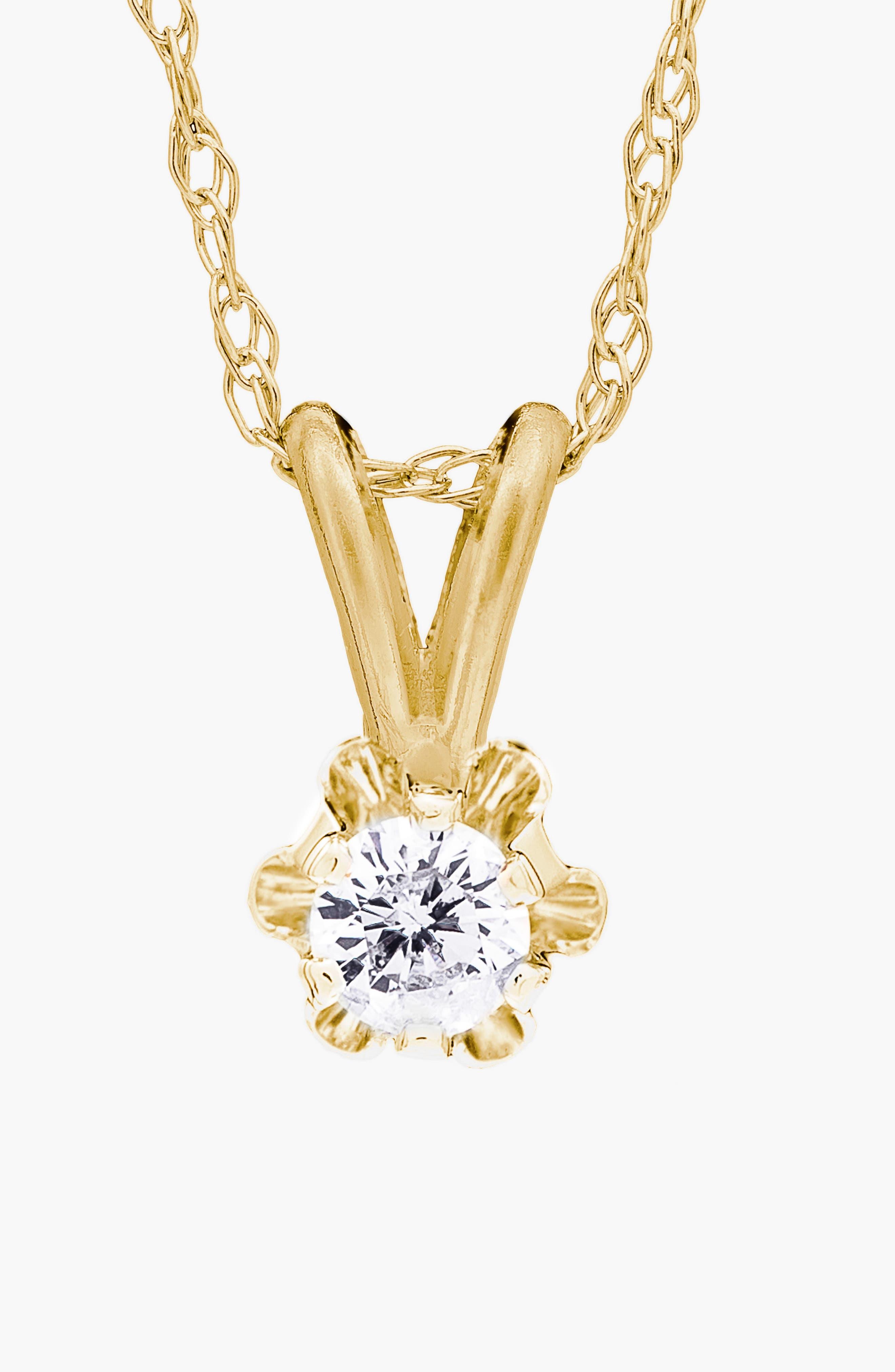 14k Gold Diamond Necklace,                             Alternate thumbnail 2, color,