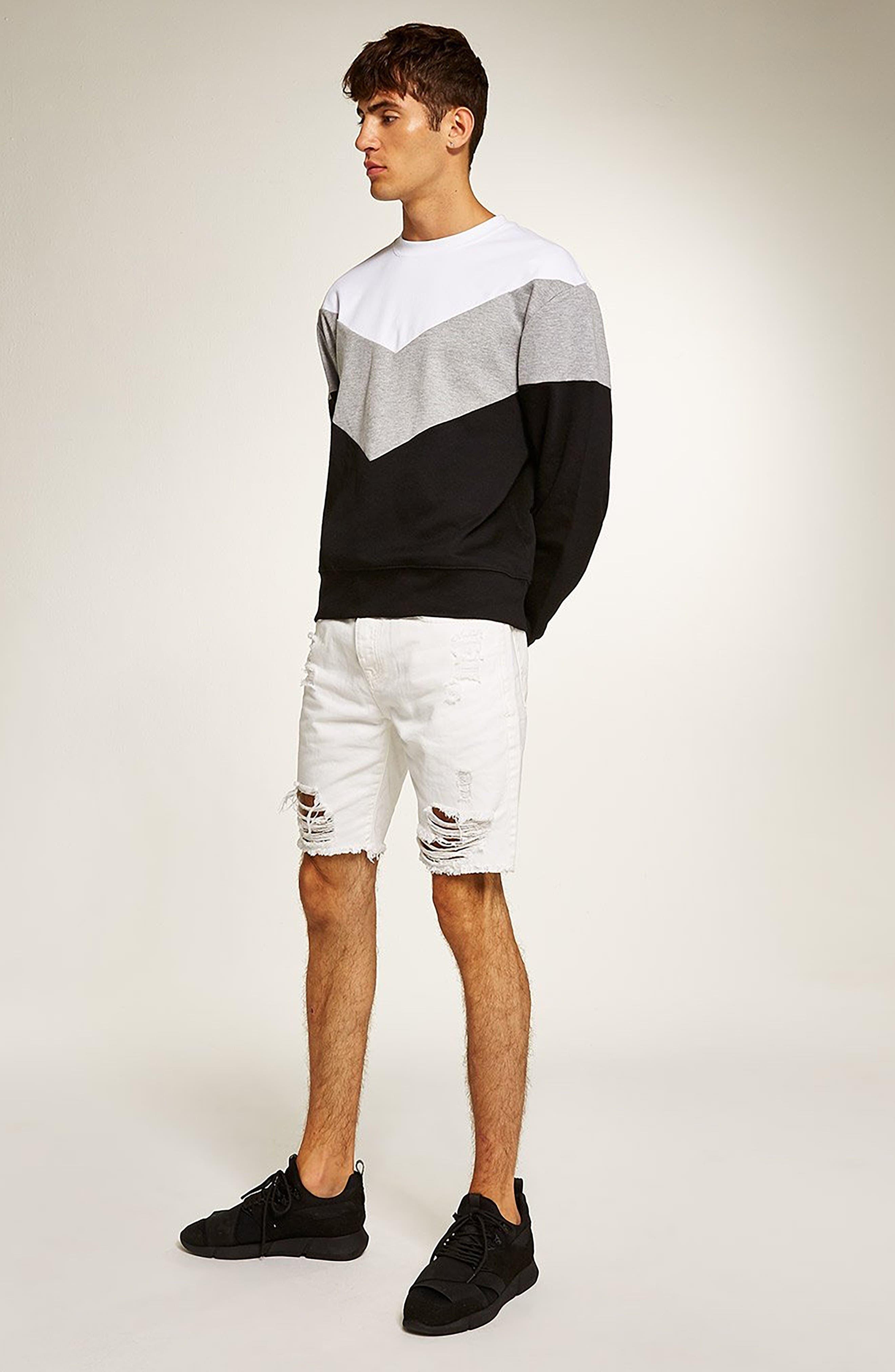 Chevron Colorblock Sweatshirt,                             Alternate thumbnail 5, color,                             001