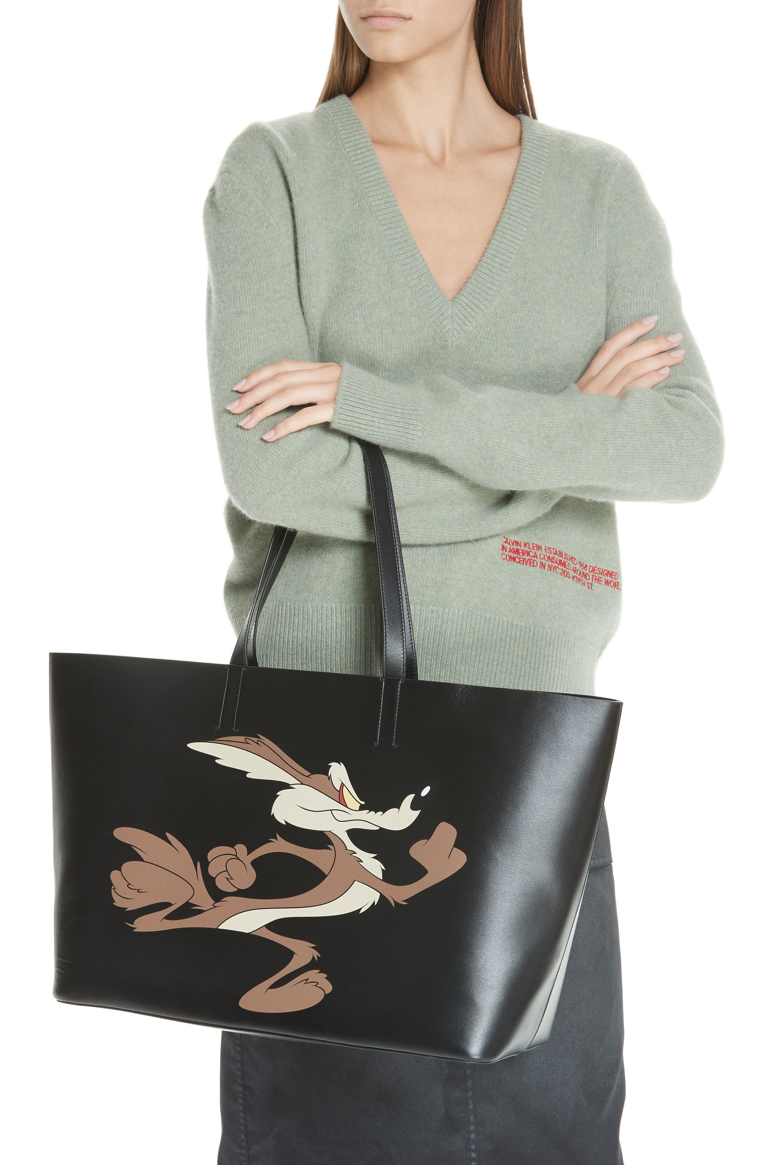 Coyote East/West Leather Tote,                             Alternate thumbnail 2, color,                             001