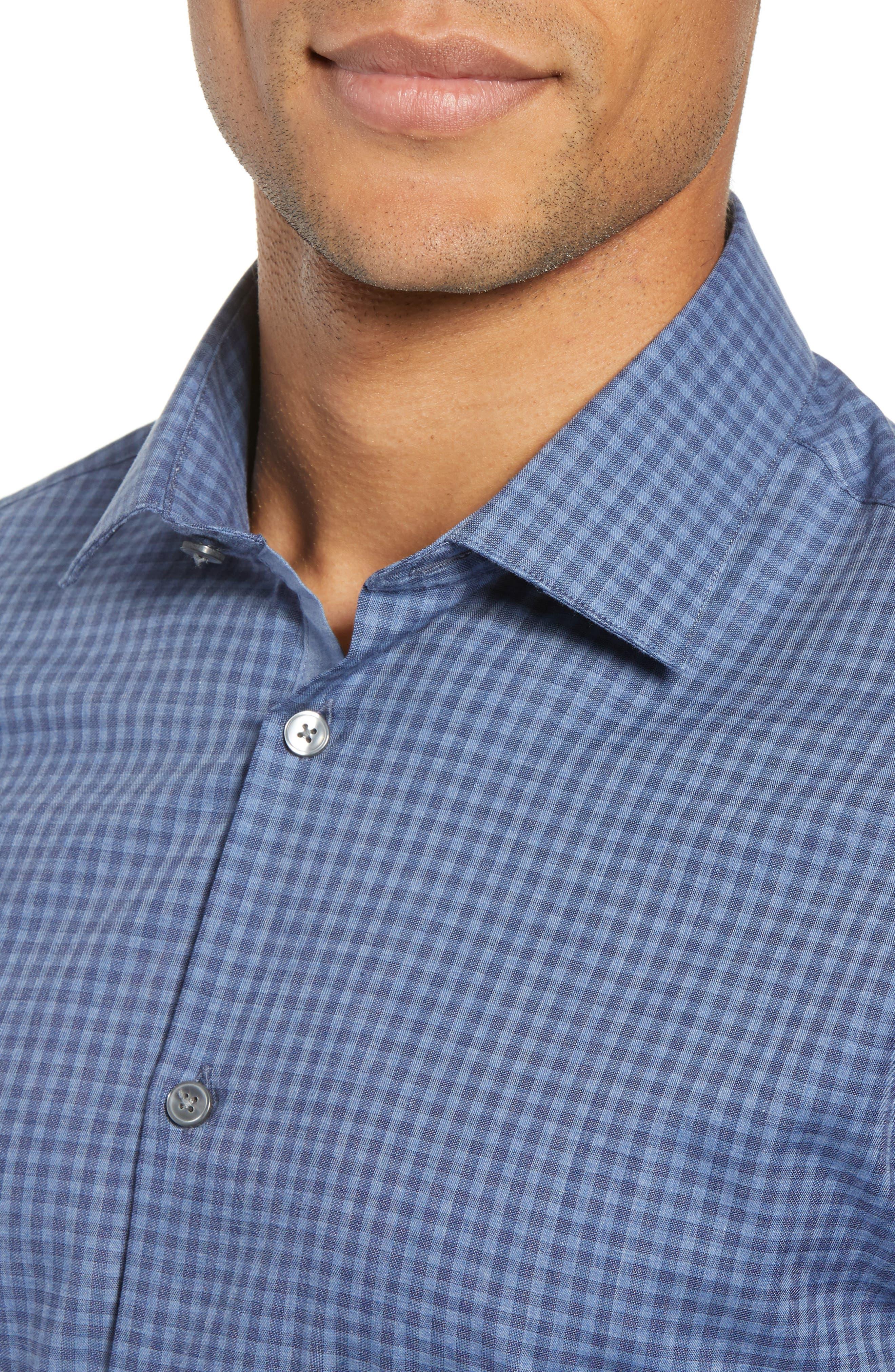 Slim Fit Check Dress Shirt,                             Alternate thumbnail 2, color,                             BLUE HEATHER