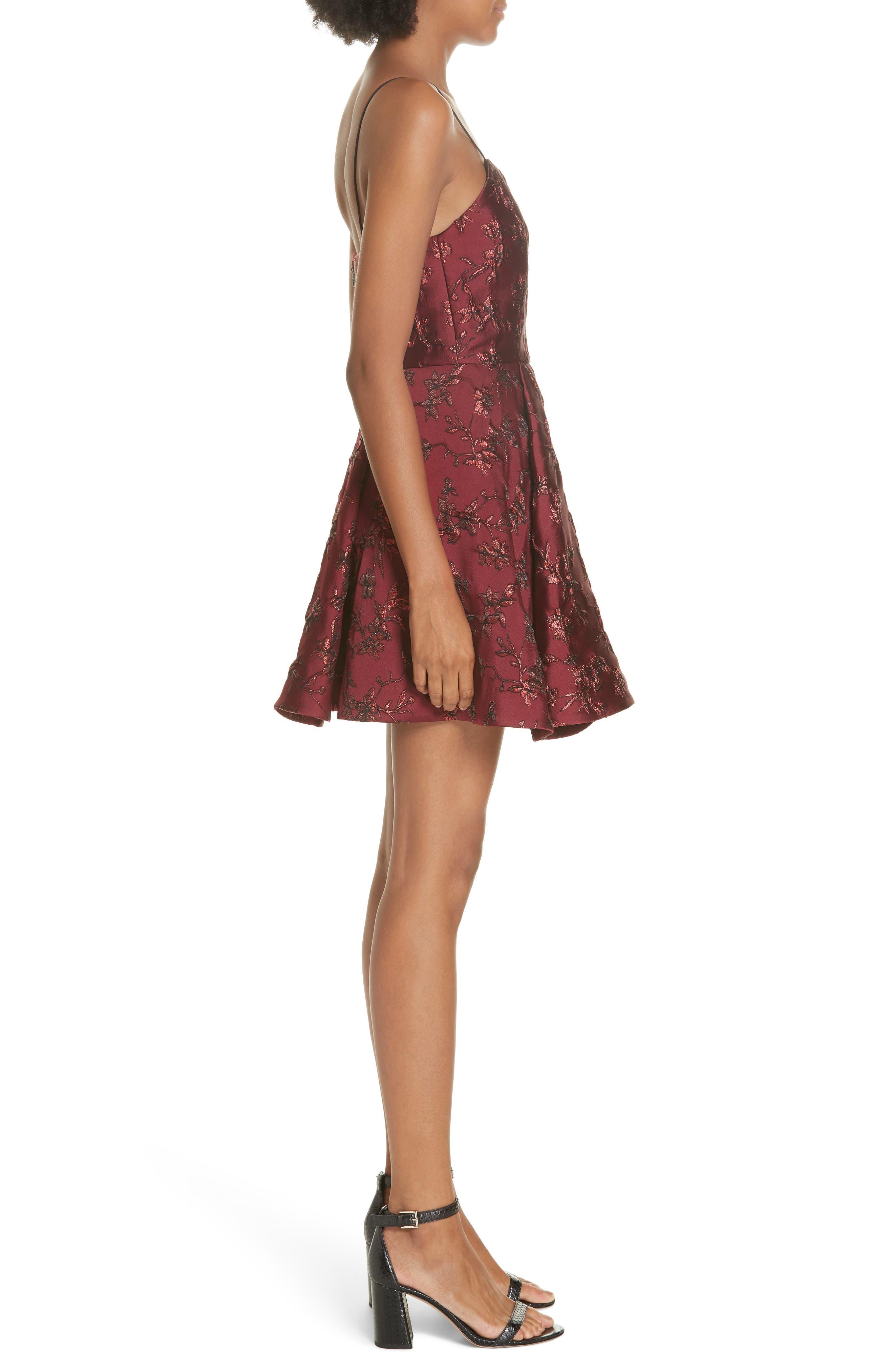 Anette Fit & Flare Party Dress,                             Alternate thumbnail 3, color,                             BORDEAUX