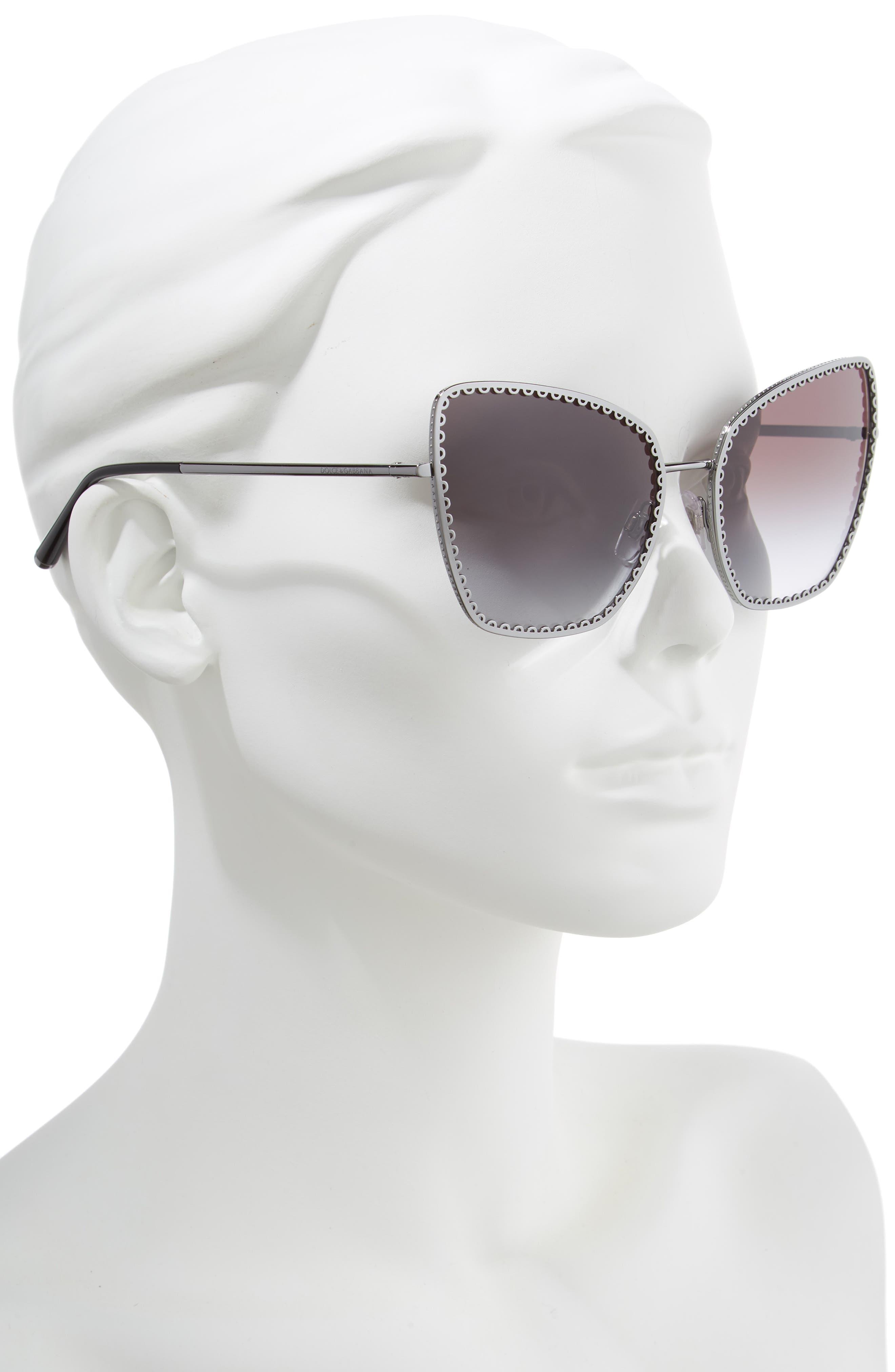Sacred Heart 61mm Gradient Cat Eye Sunglasses,                             Alternate thumbnail 2, color,                             GUNMETAL GRADIENT