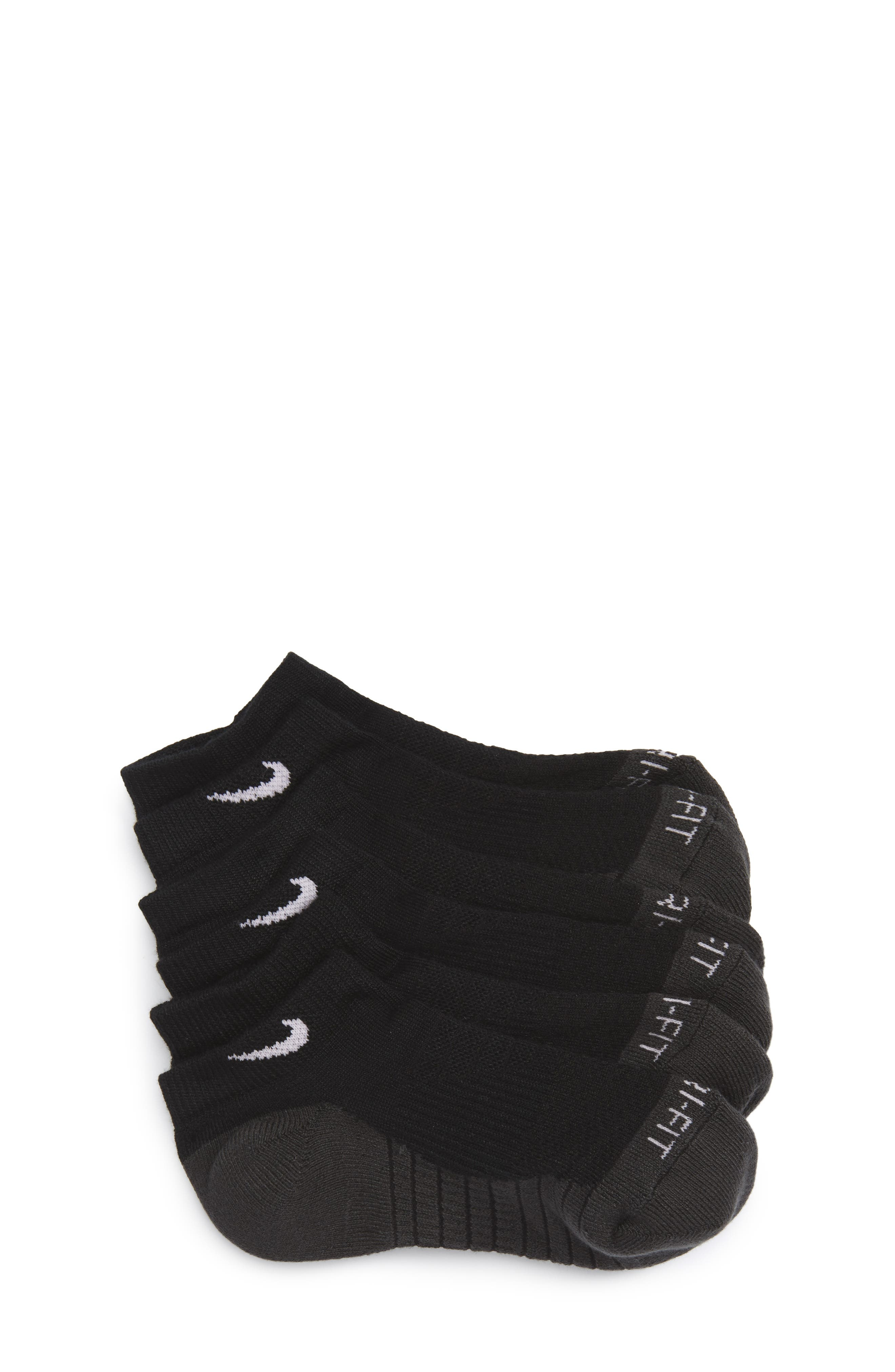 3-Pack Cushioned Dri-FIT No-Show Socks,                             Main thumbnail 1, color,                             BLACK/ ANTHRACITE/ WHITE