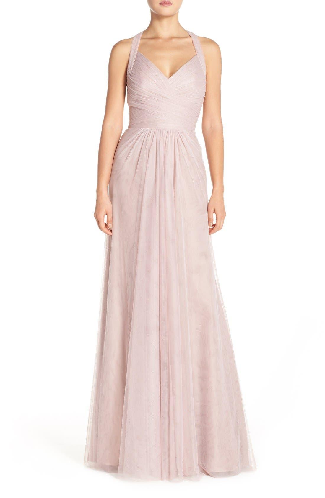Sleeveless V-Neck Tulle Gown,                             Main thumbnail 4, color,