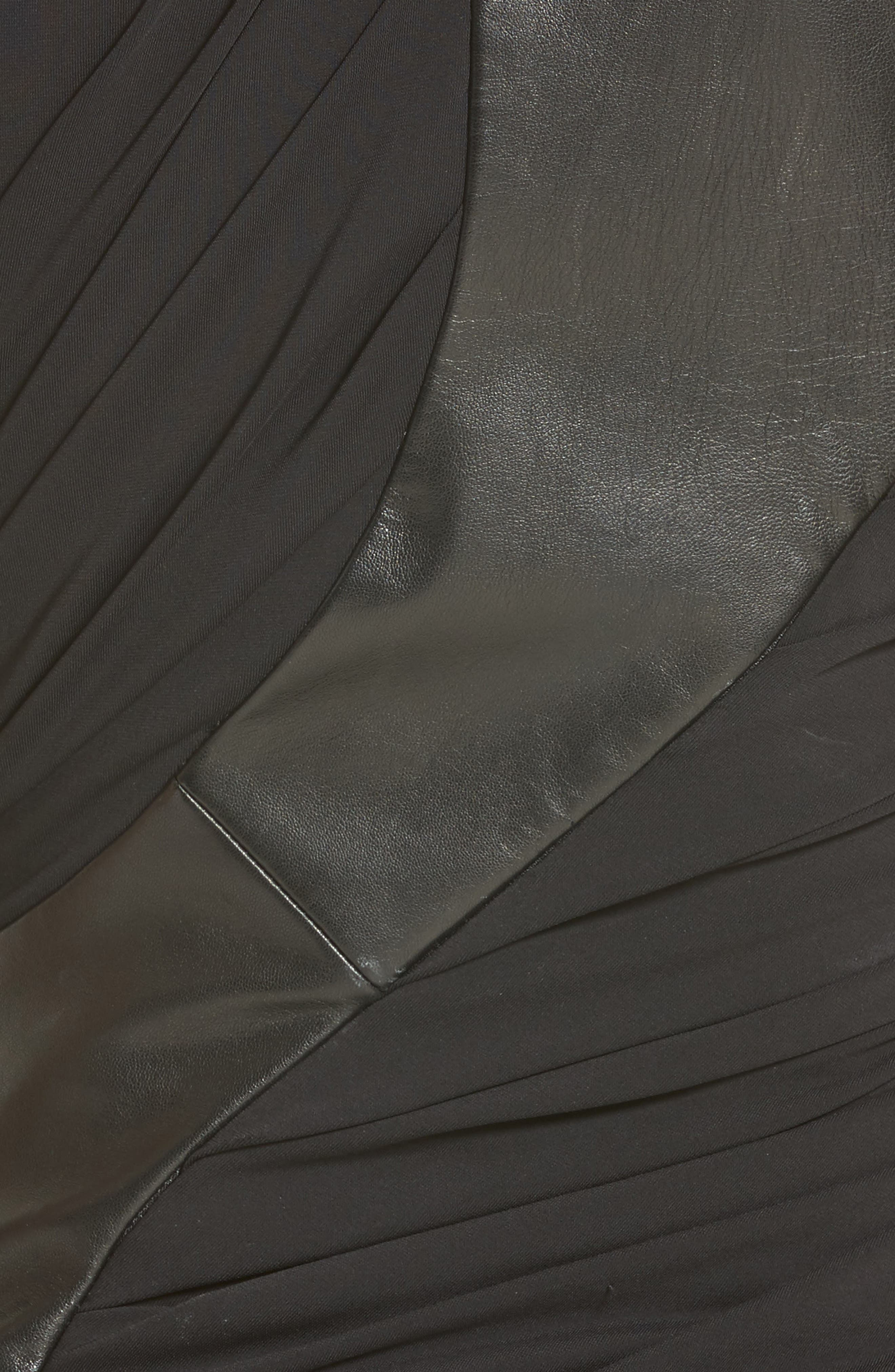 Draped Jersey & Leather Dress,                             Alternate thumbnail 5, color,                             001
