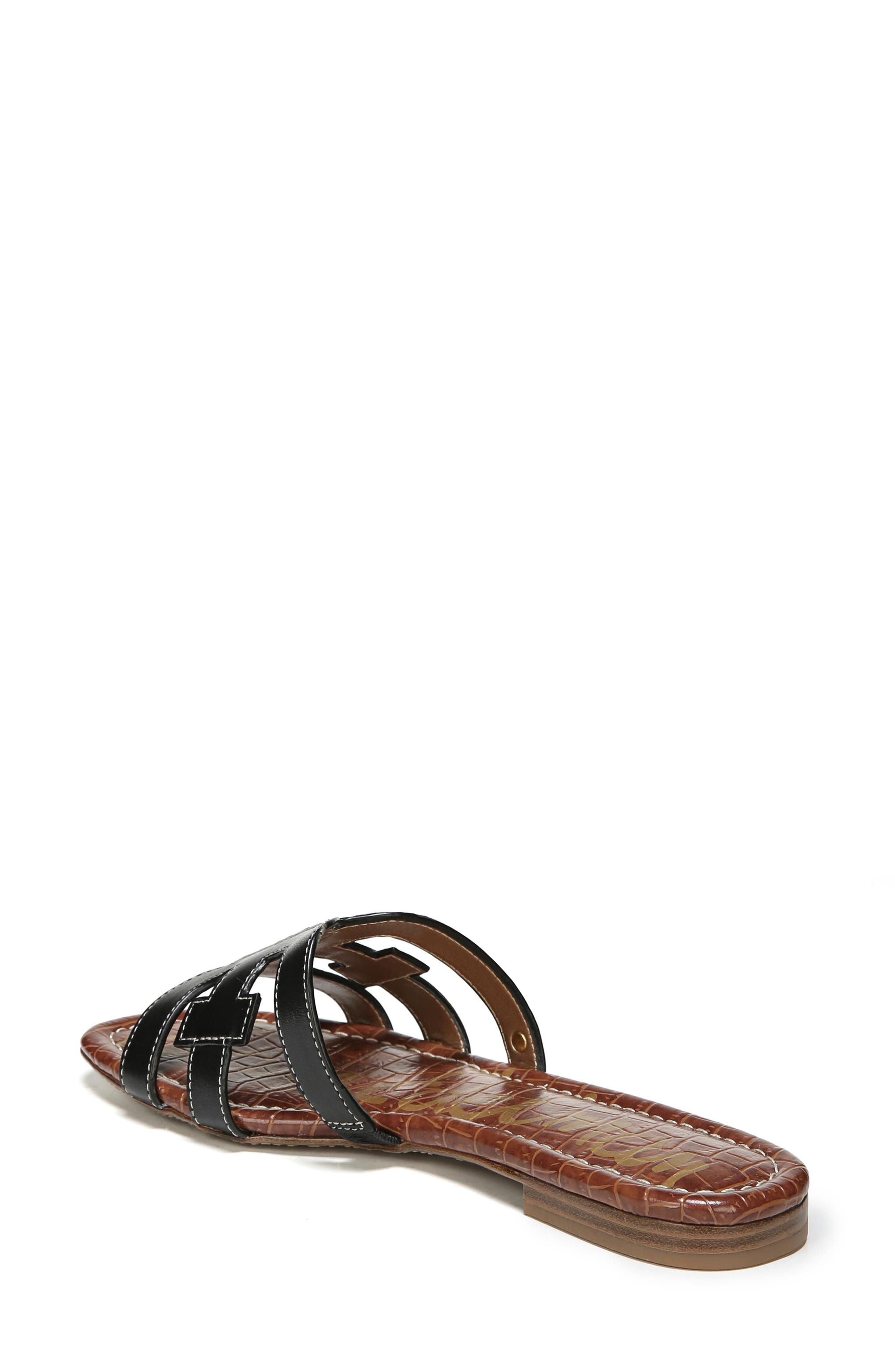 Bay Cutout Slide Sandal,                             Alternate thumbnail 2, color,                             BLACK LEATHER