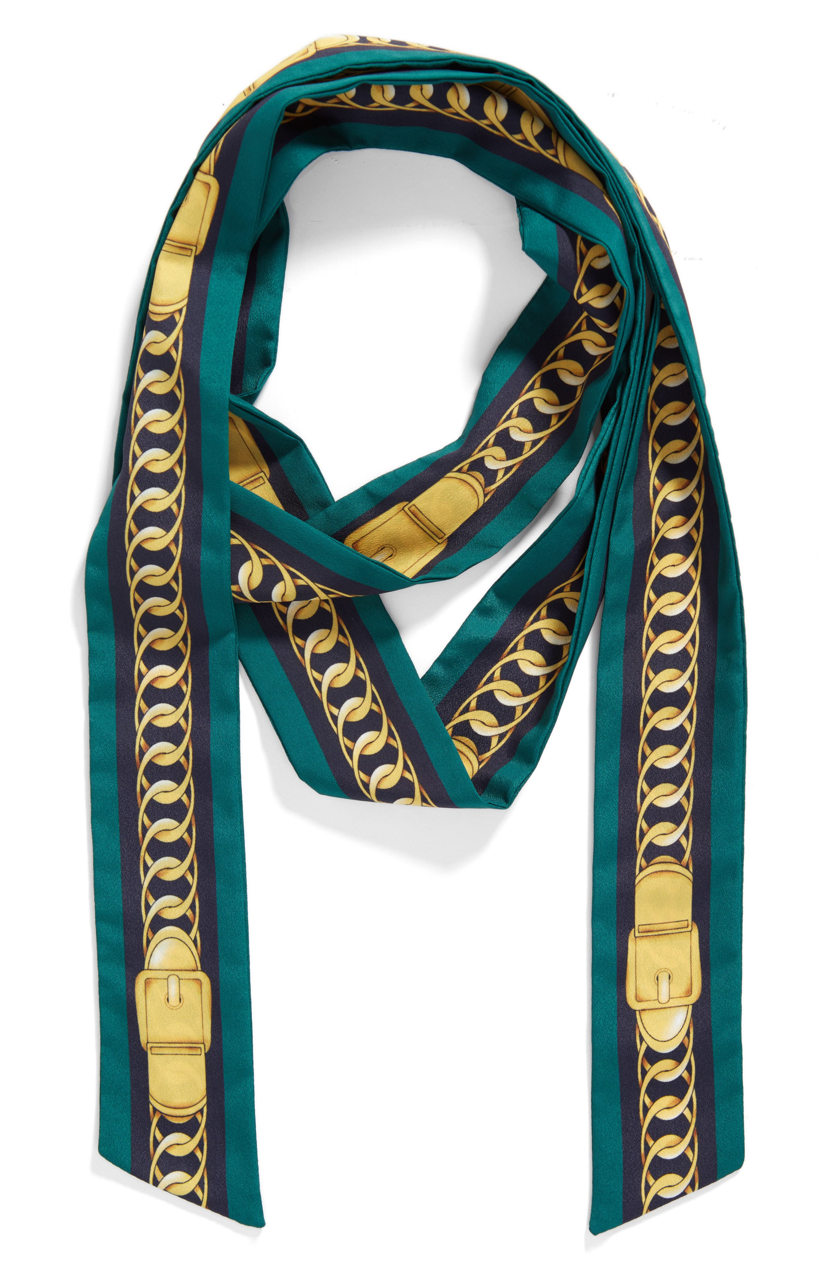 Chain Print Skinny Scarf,                             Alternate thumbnail 5, color,