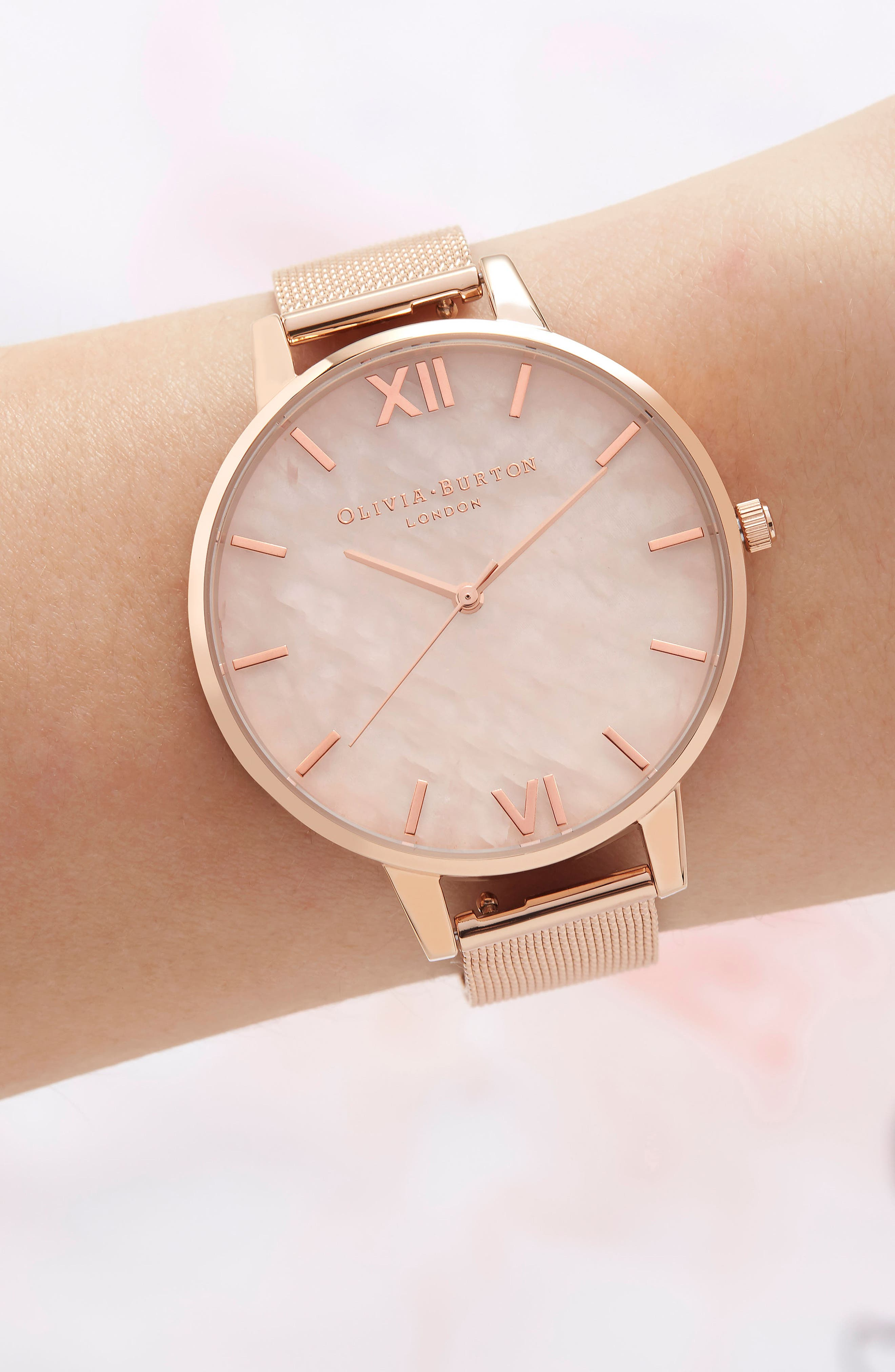 Mesh Strap Watch, 38mm,                             Alternate thumbnail 2, color,                             ROSE GOLD