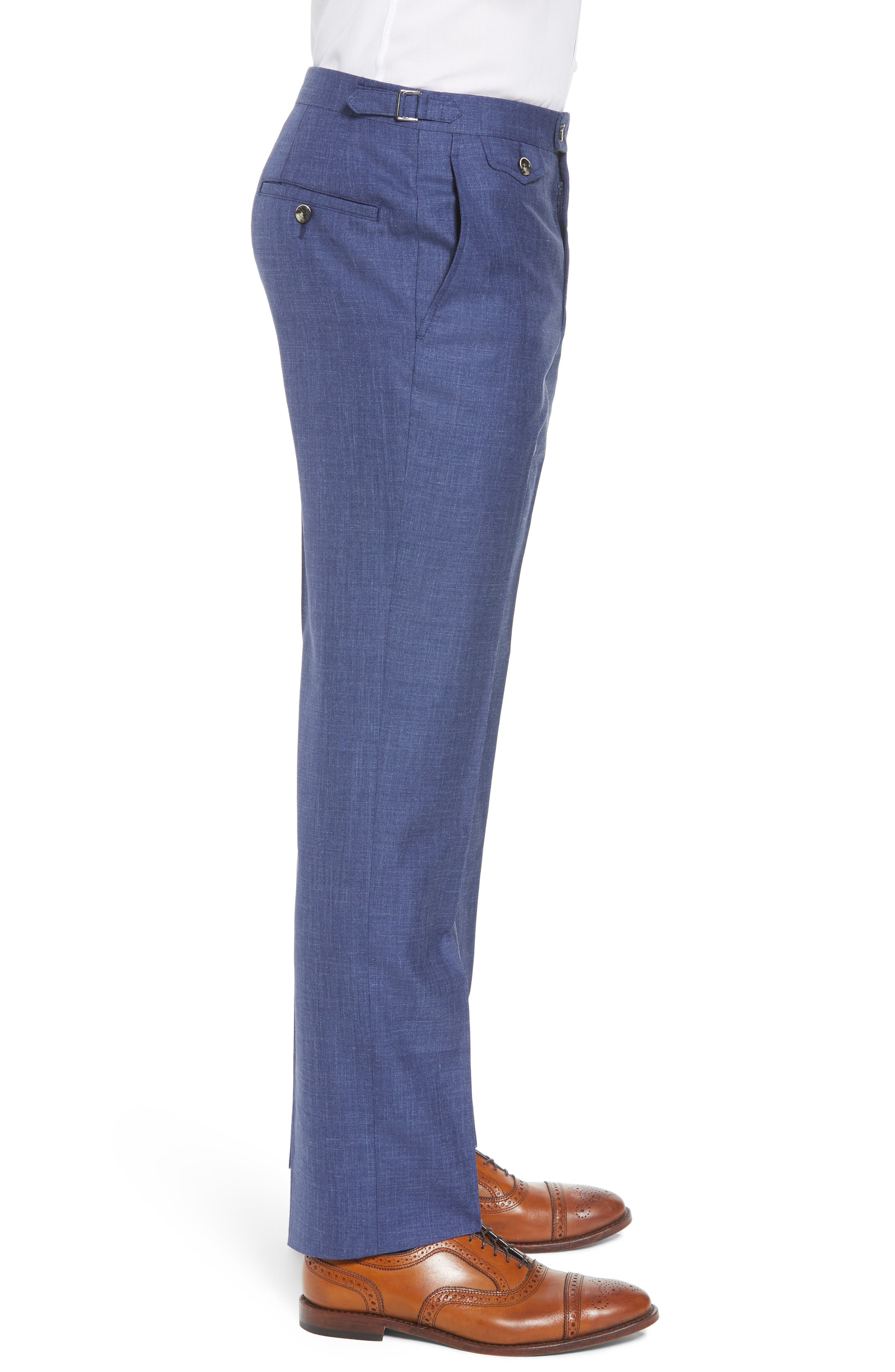 B Fit Flat Front Solid Wool Blend Trousers,                             Alternate thumbnail 3, color,                             BLUE SOLID