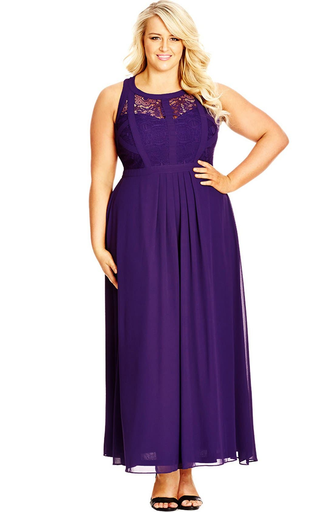 Paneled Lace Bodice Gown,                             Main thumbnail 10, color,