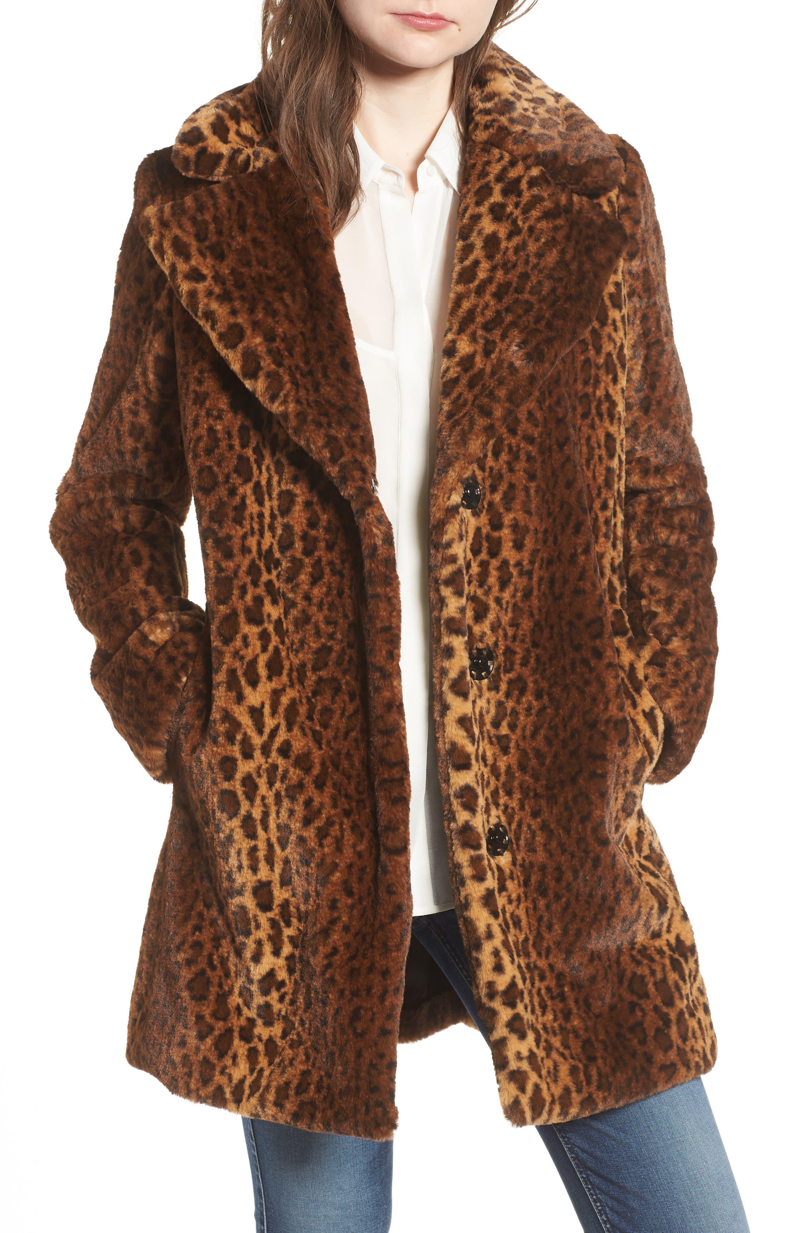 Faux Fur Leopard Print Coat,                         Main,                         color, 206